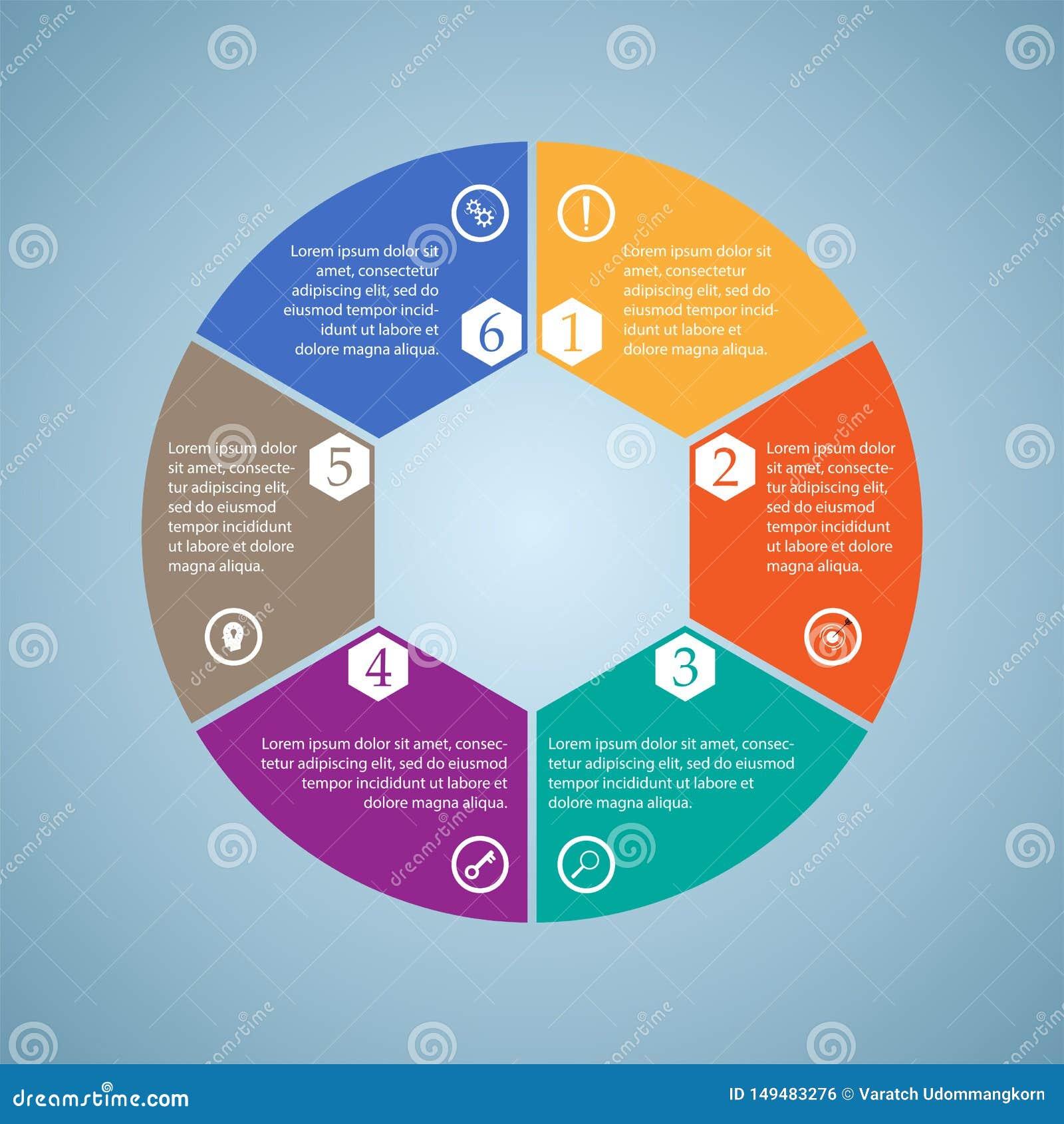De zaken InfoGraphics, zes stukken omcirkelen diagram, zeshoek, stappresentatie, sectiebanner