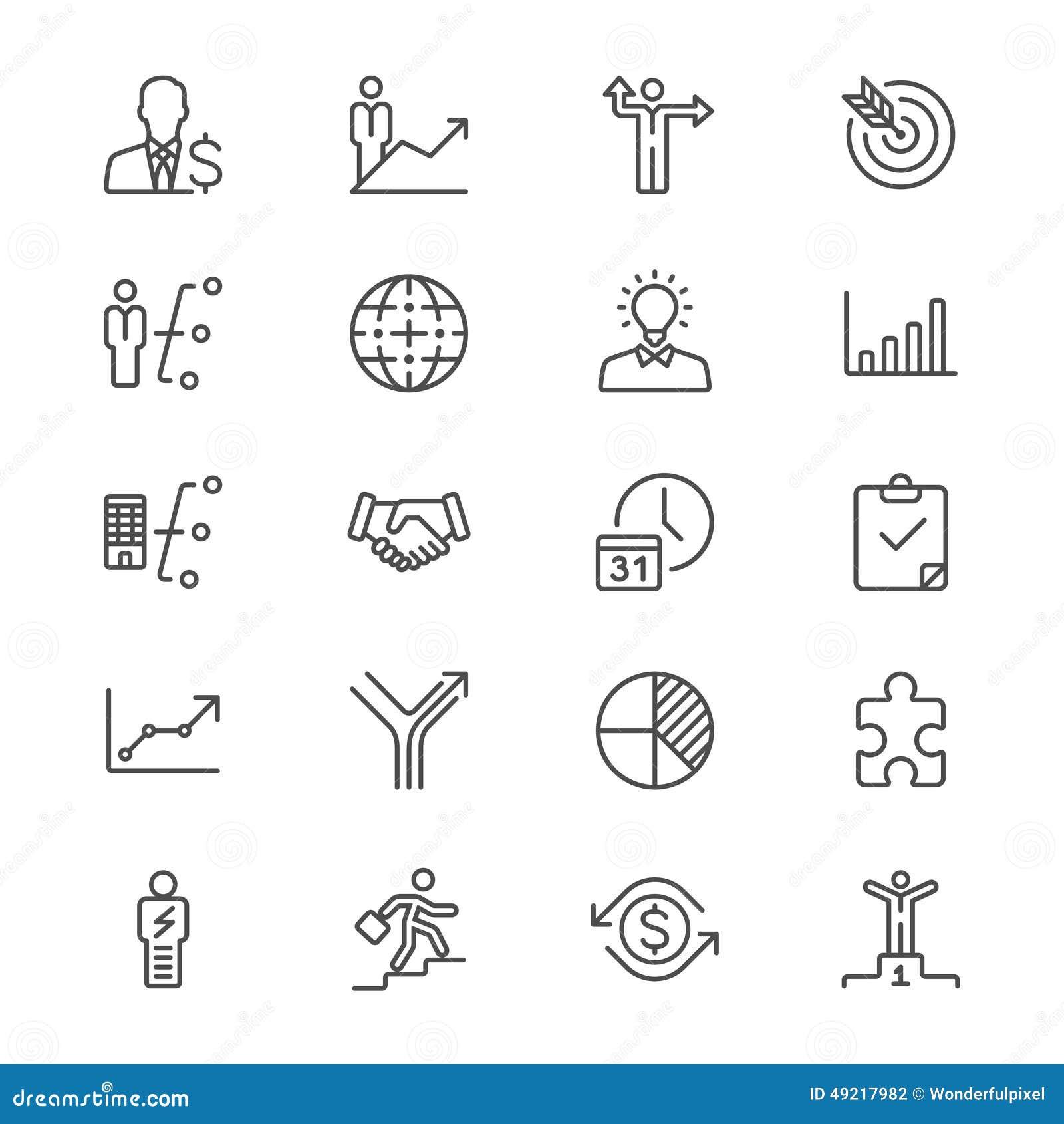 De zaken verdunnen pictogrammen