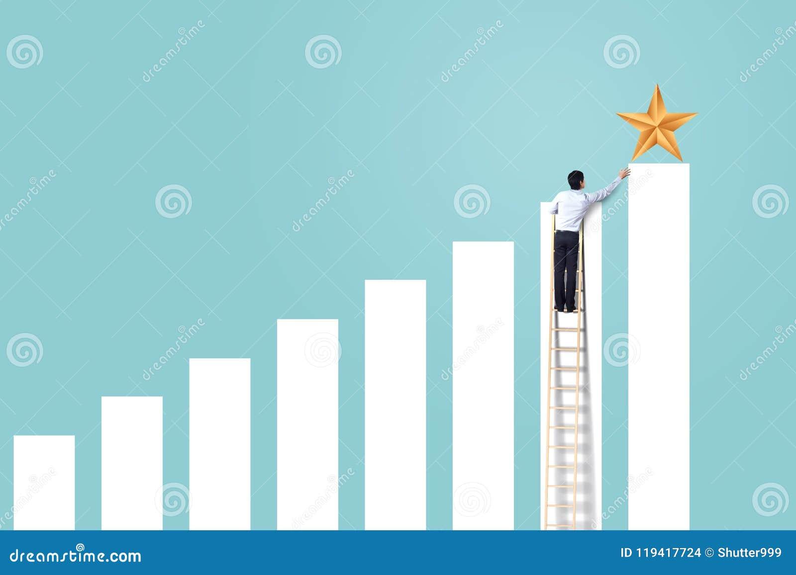 De zakenman beklimt op het toenemen grafiek op ladder om ster, succesvolle en winstconcept te bereiken