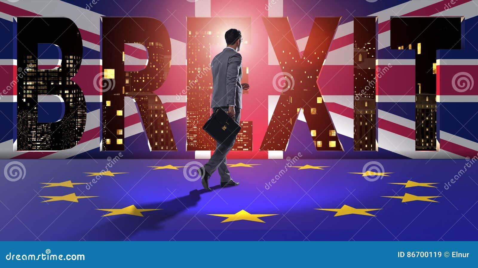 De zakenman in brexitconcept - het UK die de EU verlaten