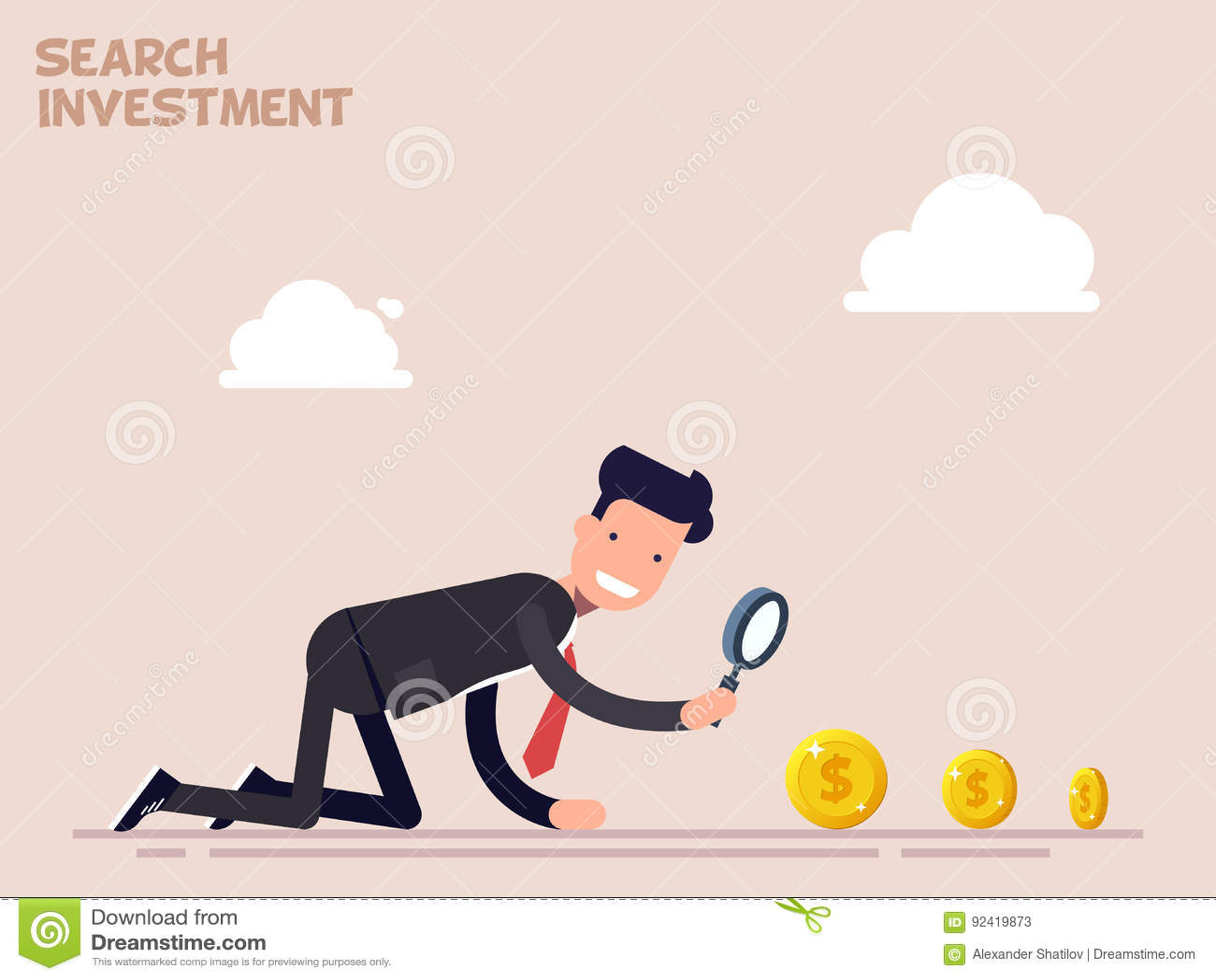 De zakenman of de manager kruipen op alle fours op zoek naar geld en investering in zaken Vectorillustratie in een vlakte