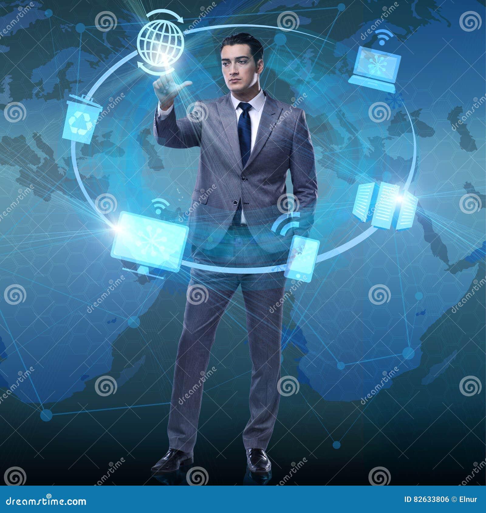 De zakenman dringende knopen in de gegevensverwerking van concept