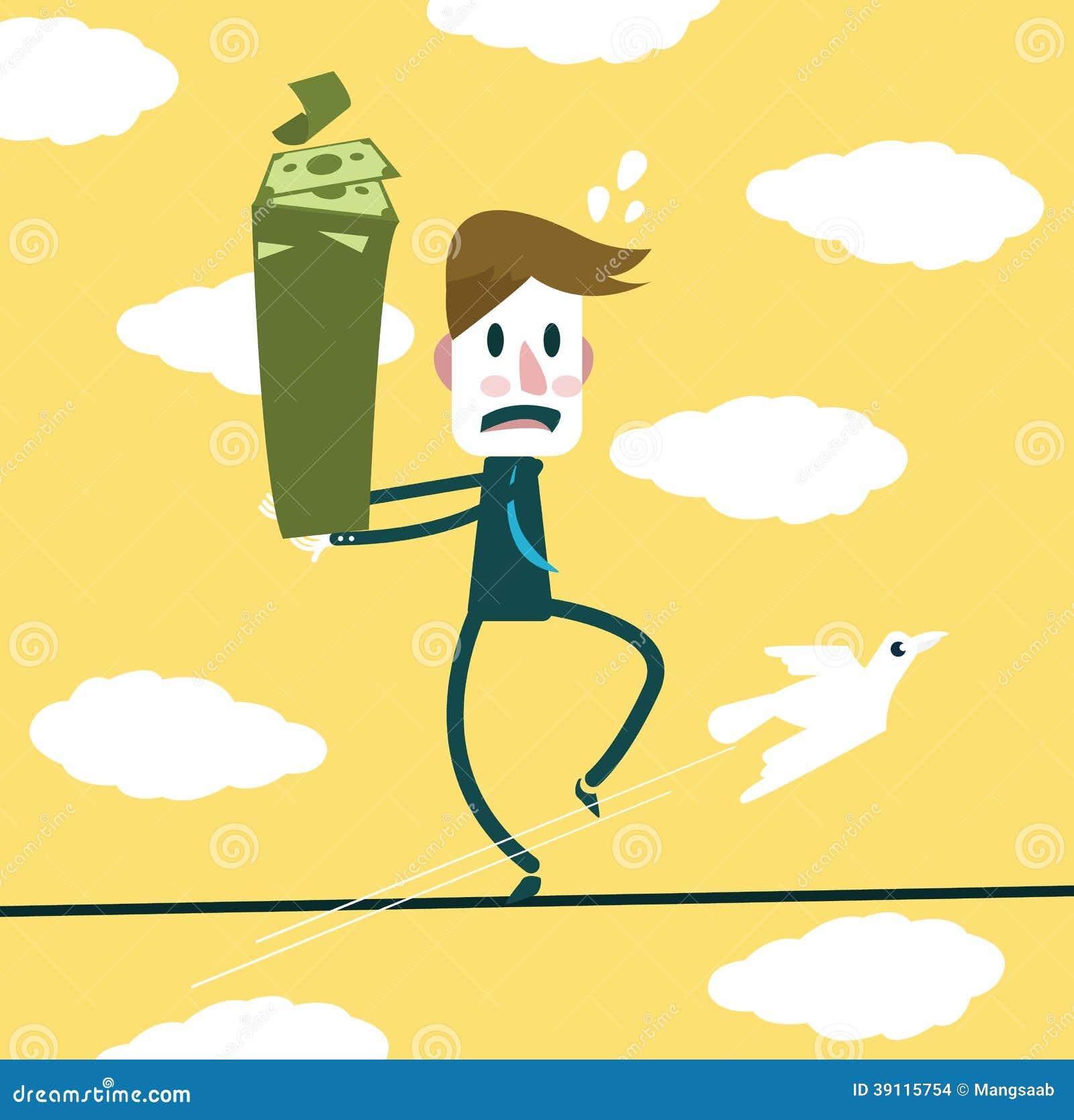 De zakenman houdt bankbiljet en brengt op een kabel in evenwicht
