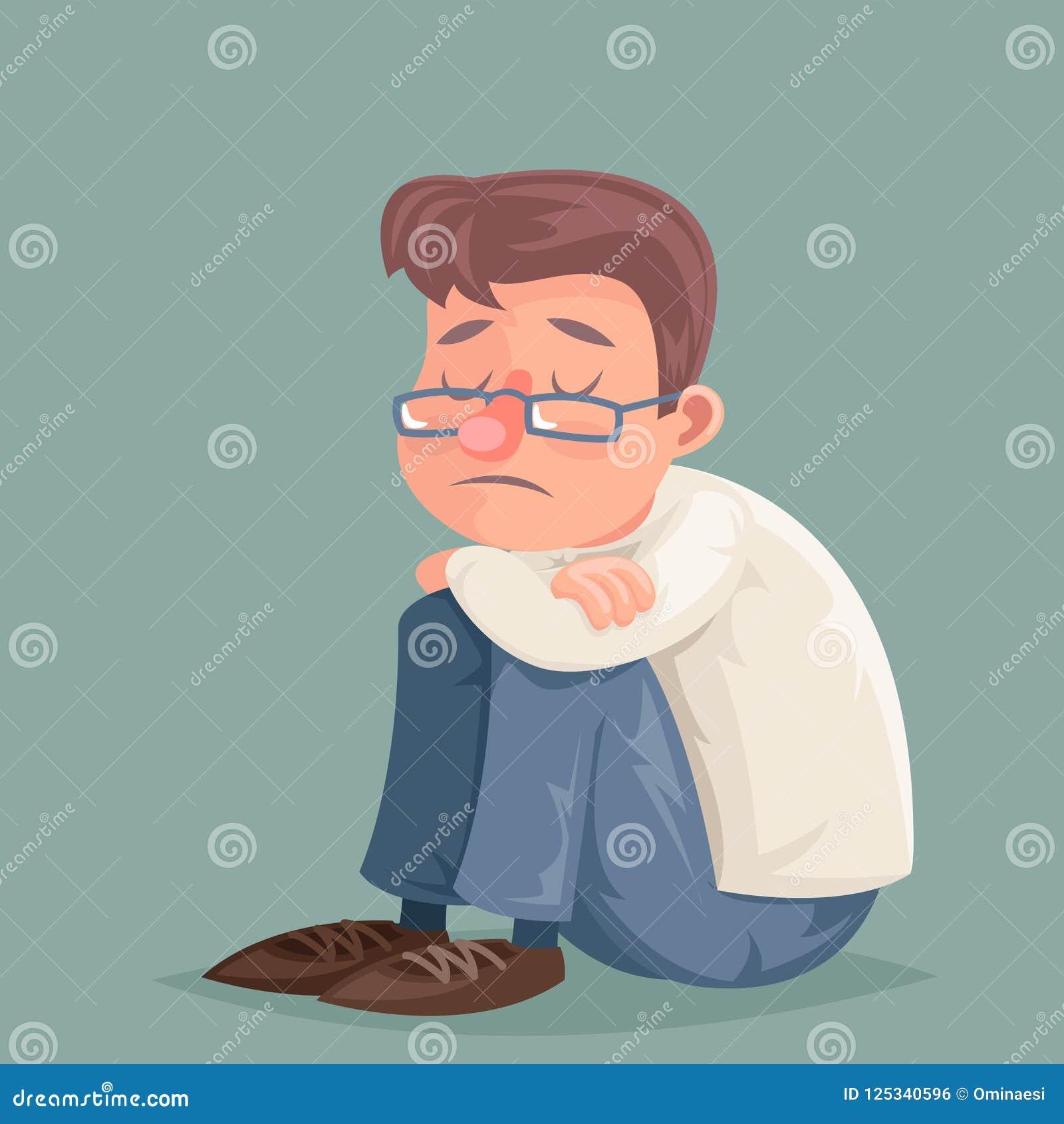 De zakenman lijdt van de de droefheids aan melancholische spanning van de emotiedepressie van het het karakterbeeldverhaal het on