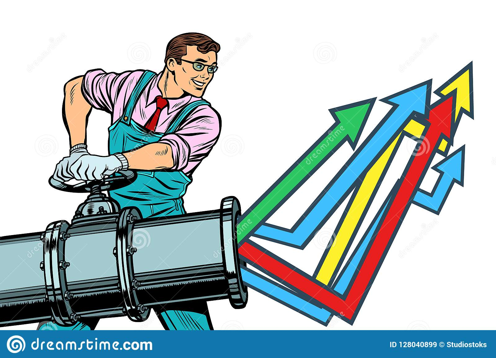 De zakenman opent pijp, de groeigrafiek Isoleer op witte backgr