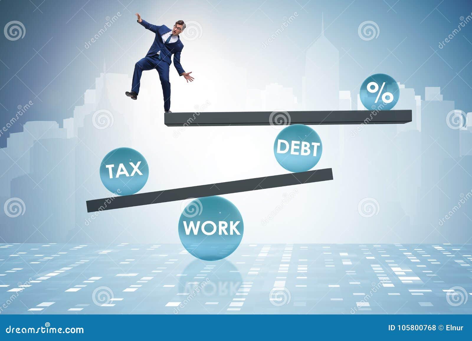 De zakenman in schuld en belastings bedrijfsconcept