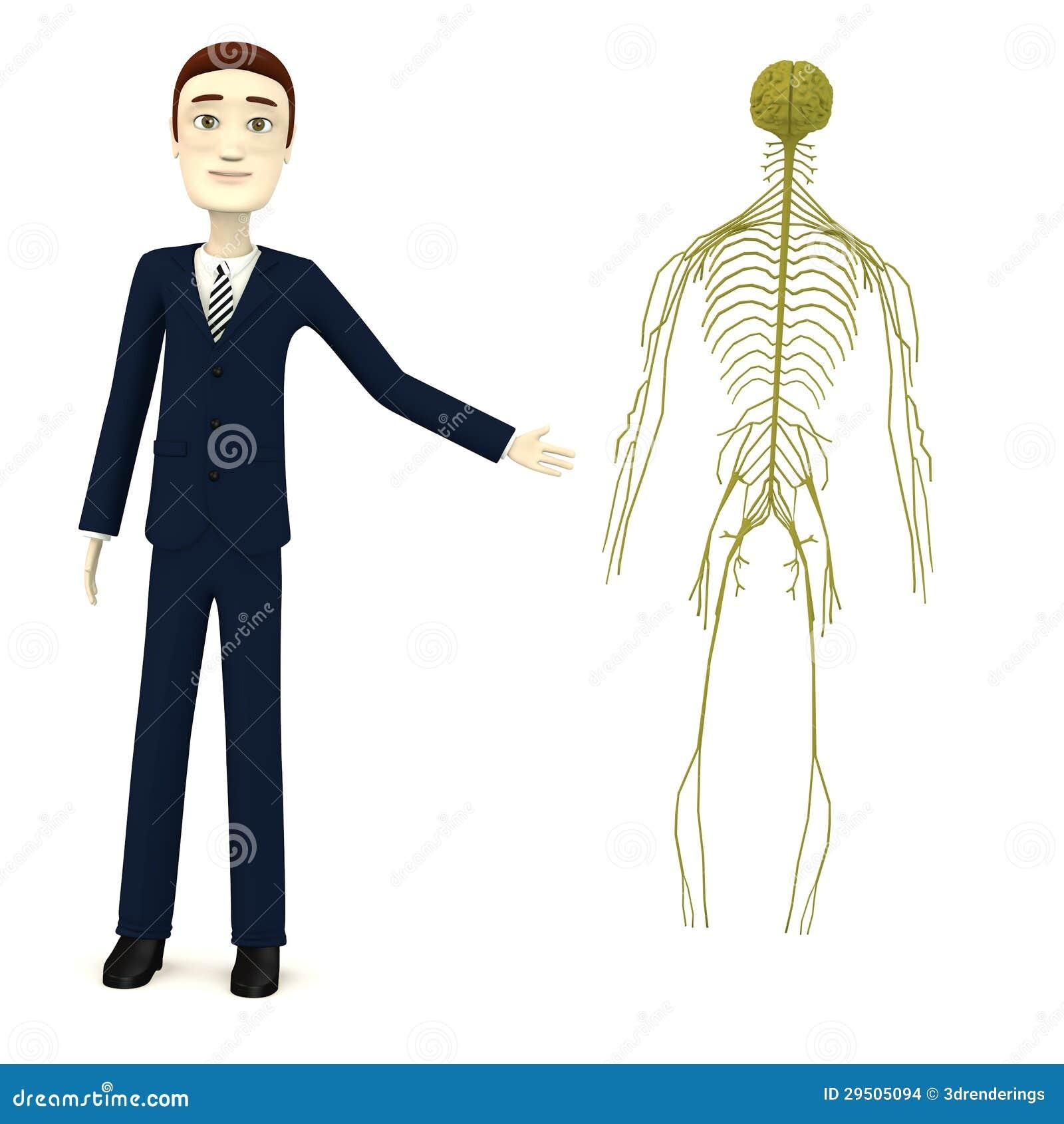 De zakenman van het beeldverhaal met zenuwstelsel