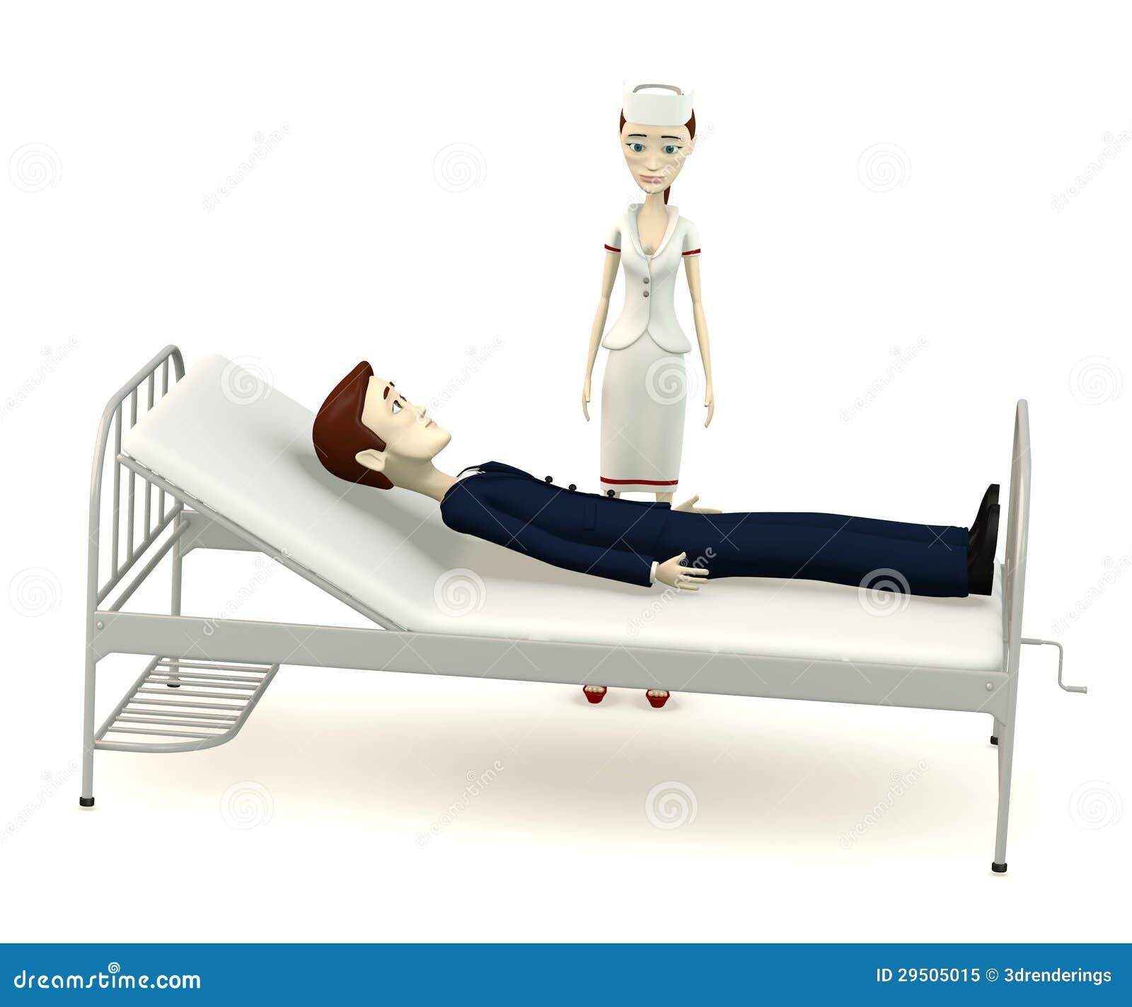 De zakenman van het beeldverhaal op het ziekenhuisbed met verpleegster
