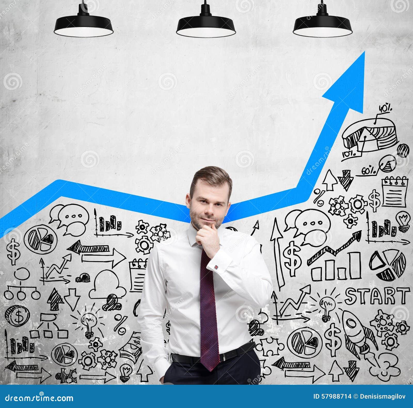 De zakenman zoekt nieuwe bedrijfsideeën Blauwe het groeien pijl als concept succesvolle zaken