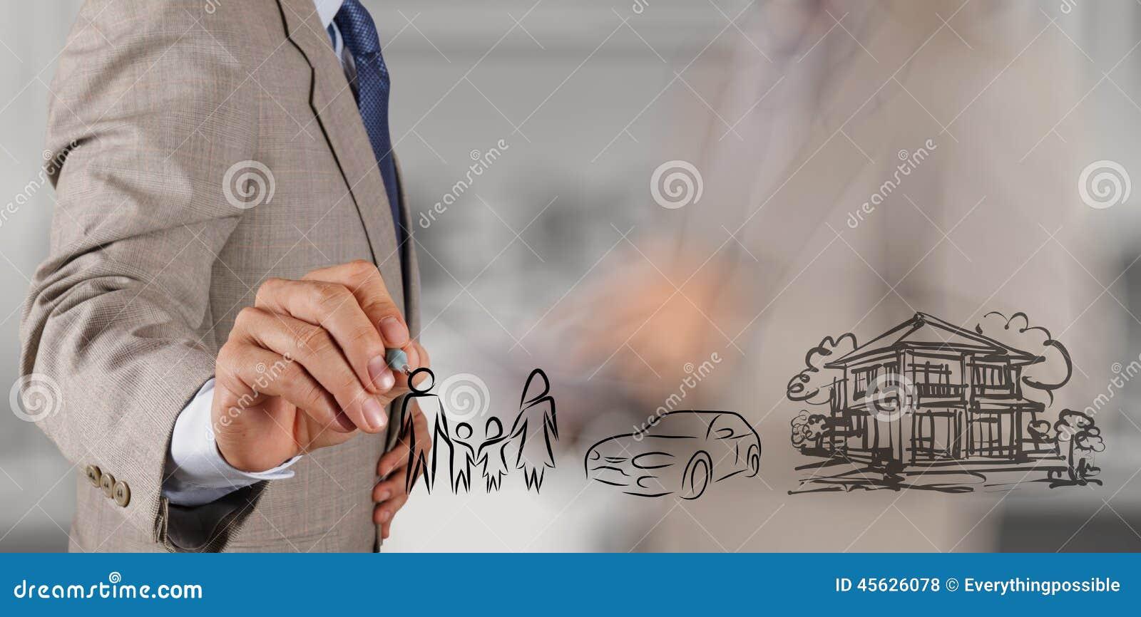 De zakenmanhand toont de toekomst van de planningsfamilie