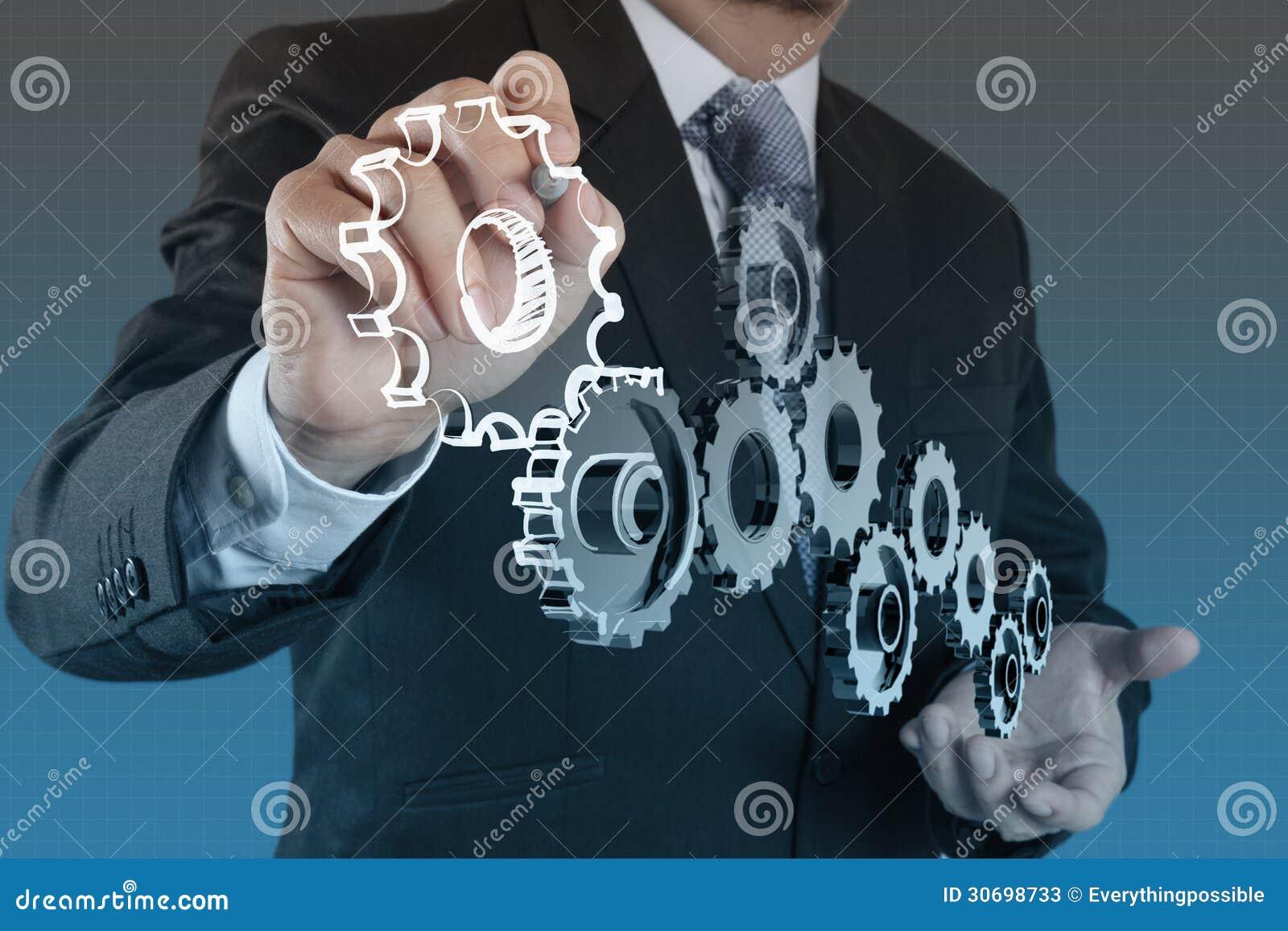 De zakenmanhand toont toestel aan succes