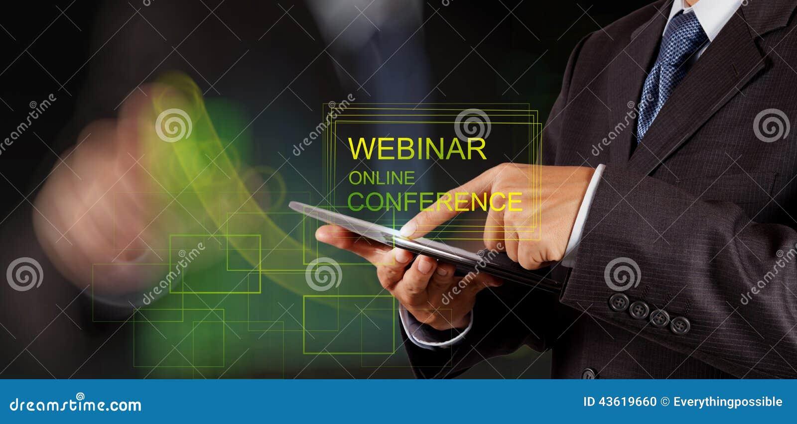 De zakenmanhand toont webinar online conferentie