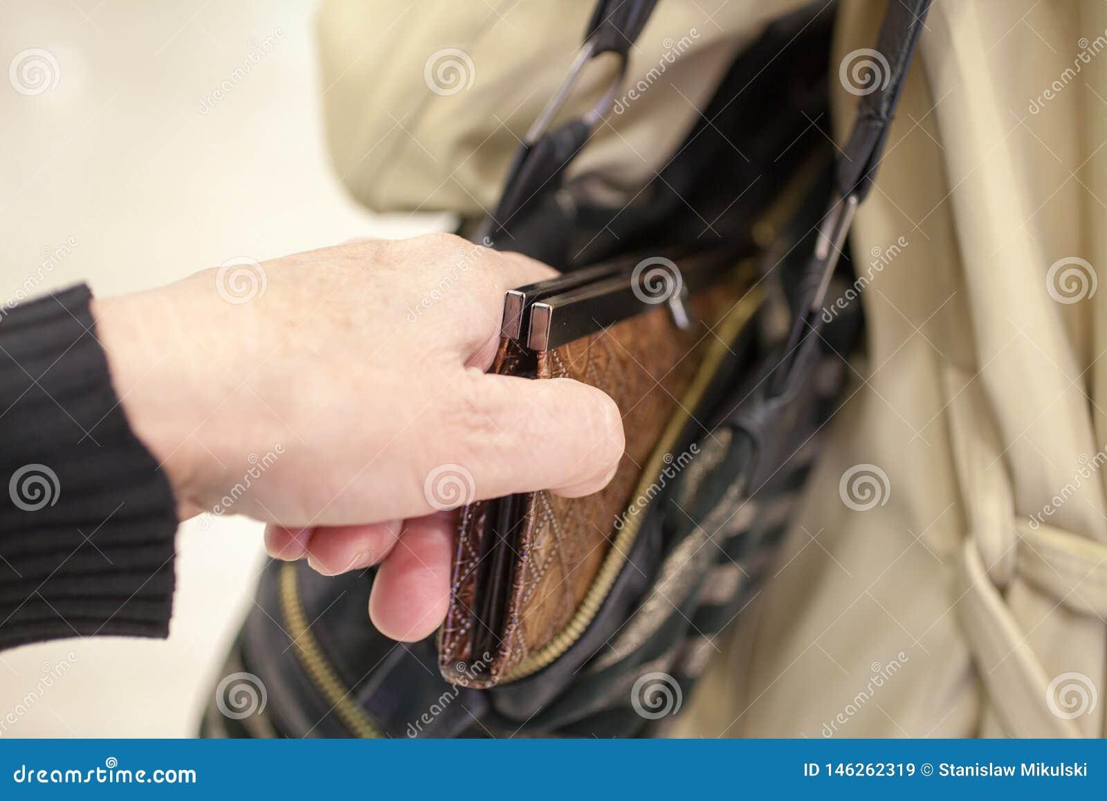 De zakkenrollerdief is stealing beurs van handtas