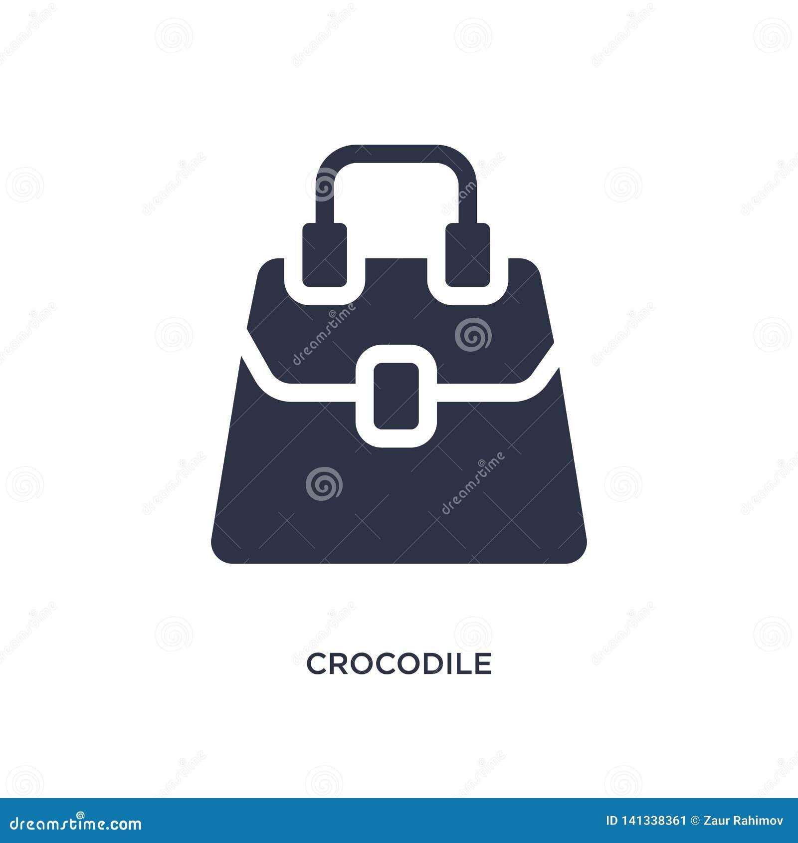 De zakpictogram van het krokodilleer op witte achtergrond Eenvoudige elementenillustratie van cultuurconcept