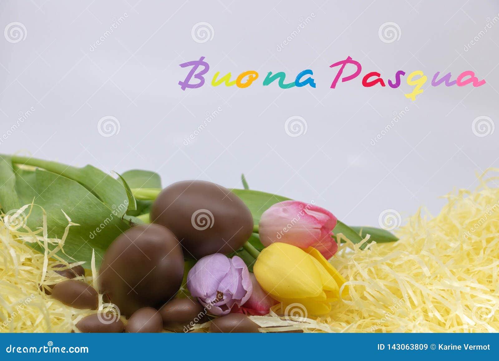 De zeer kleurrijke tekst Buona Pasqua is Gelukkige die Pasen in het Italiaans voor Pasen wordt geschreven