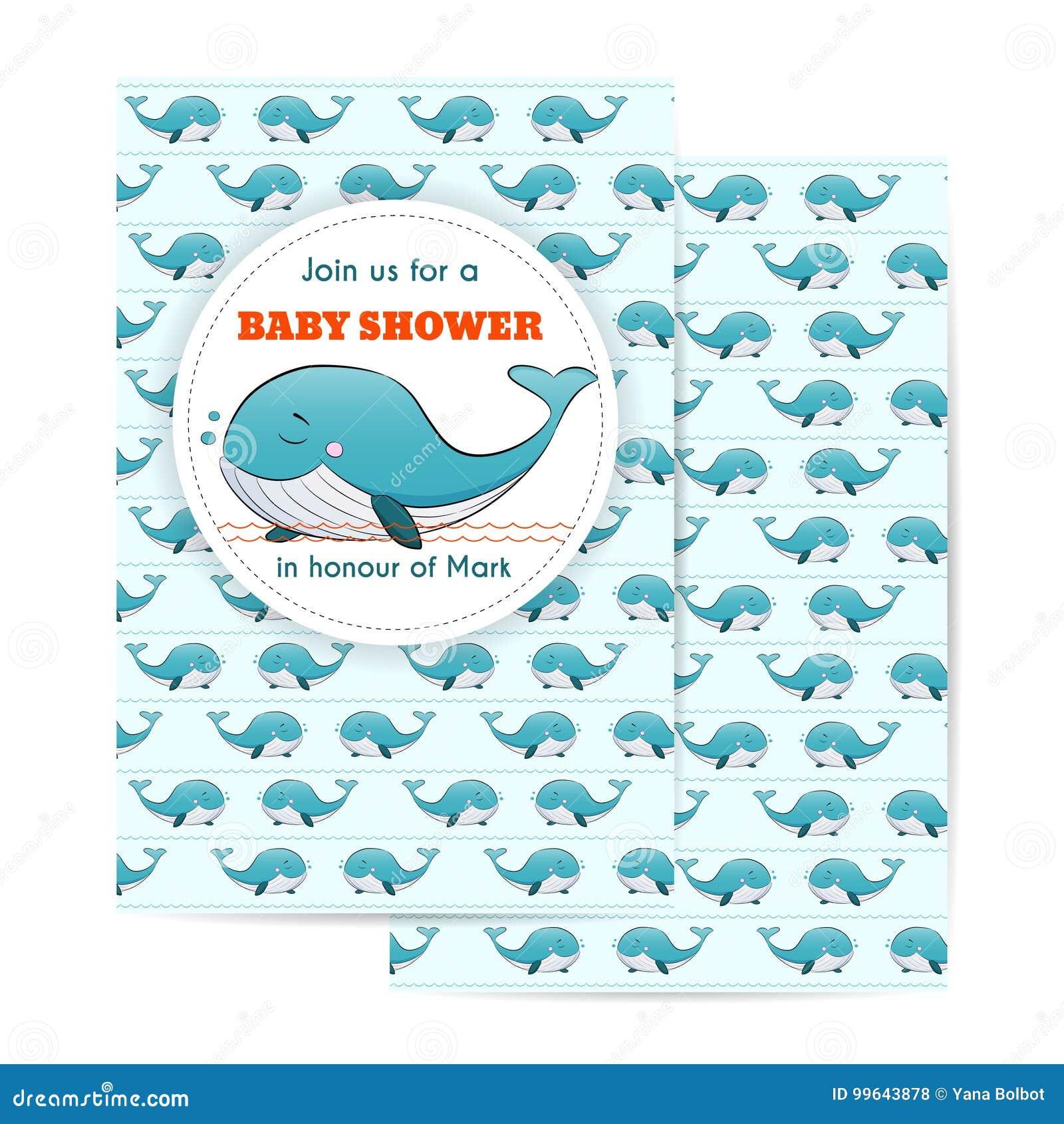 De zeevaartkaart van de babydouche Van de overzeese de partijuitnodiging themababy met walvis