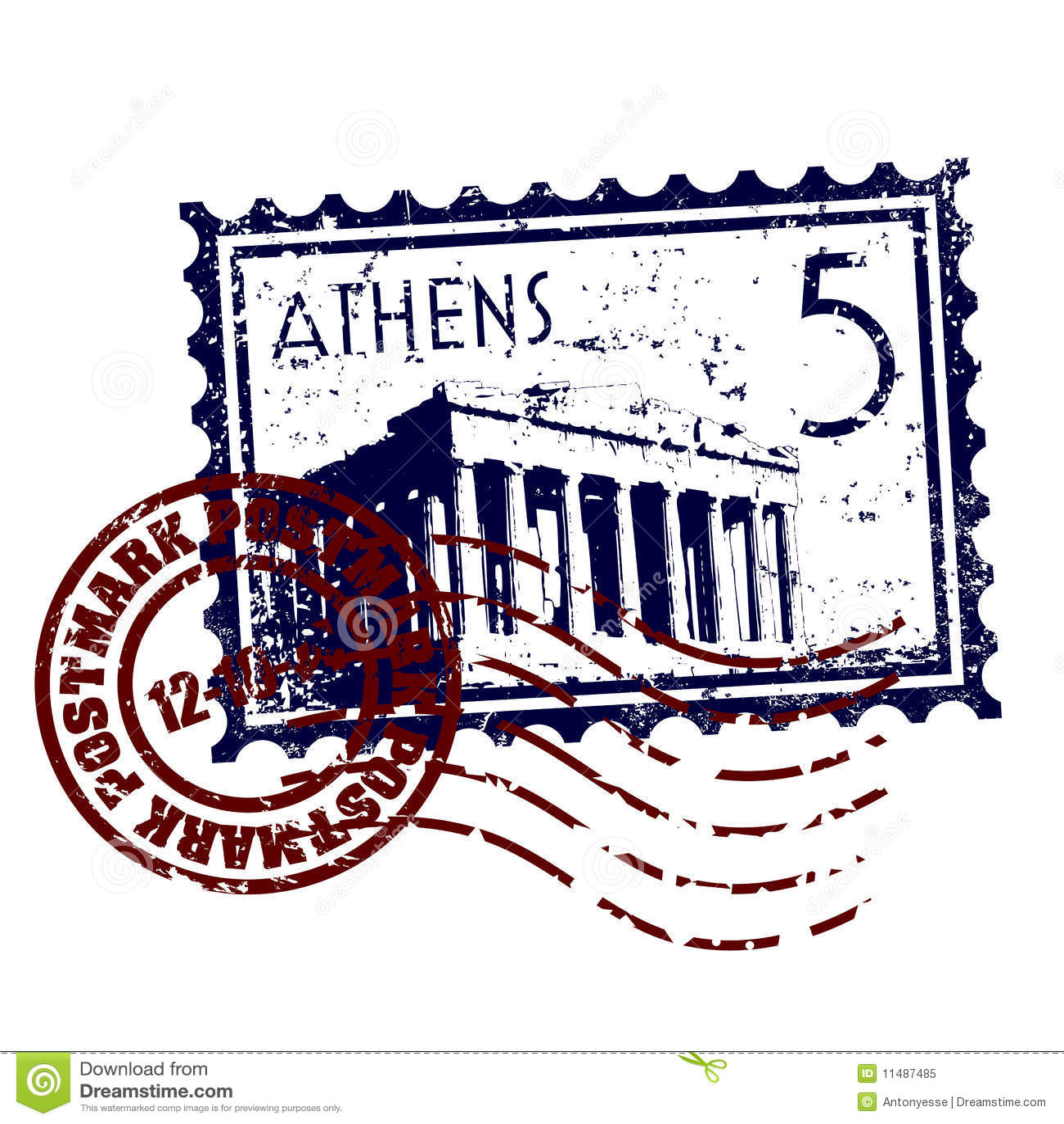 De zegel of het poststempelstijl van Athene grunge