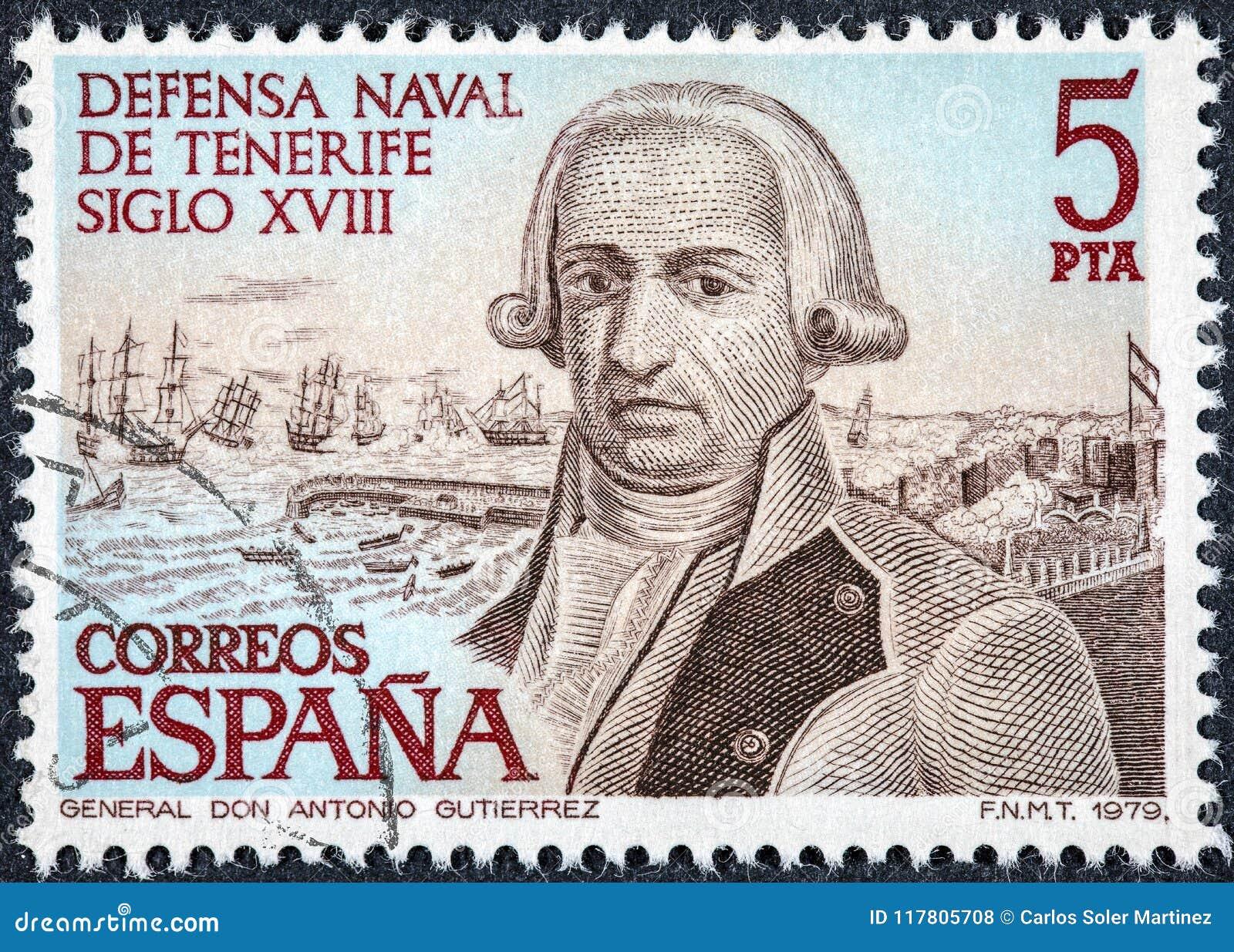 De zegel in Spanje wordt gedrukt toont Algemeen Antonio Gutierrez dat