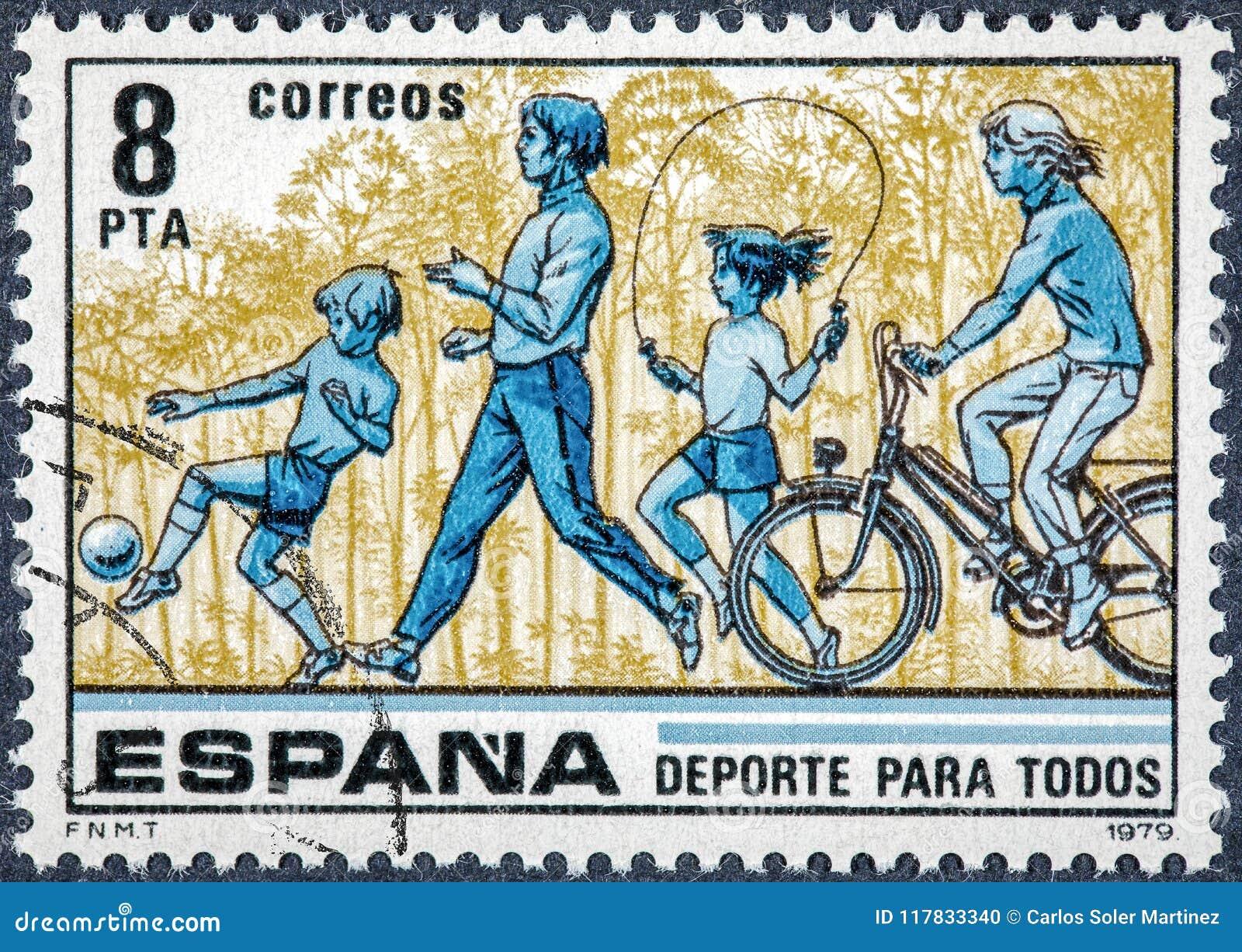 De zegel in Spanje wordt gedrukt toont Sport die voor allen
