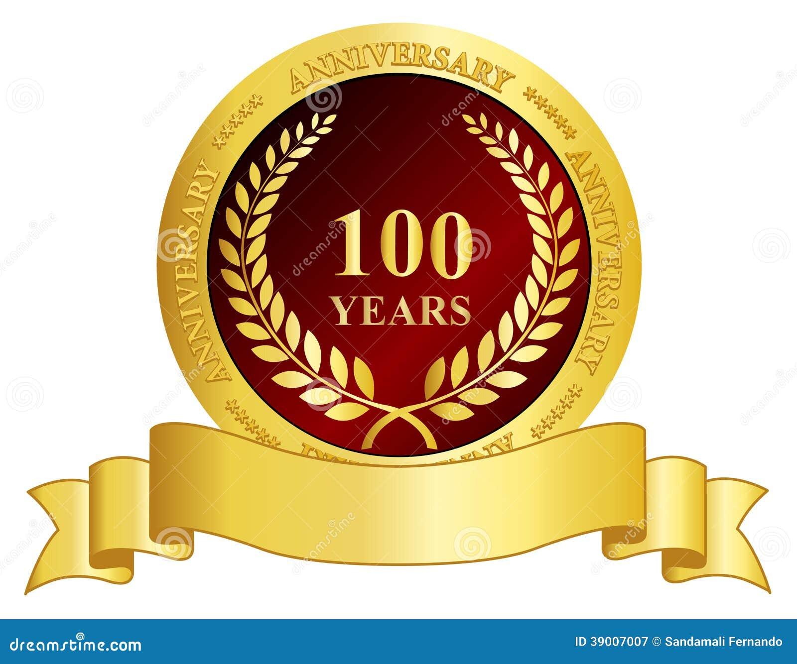 De zegel van de 100 jaarverjaardag met lint