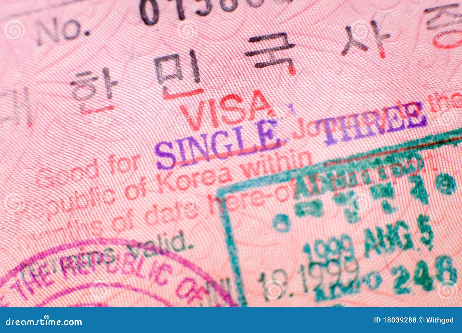 De zegel van het visum