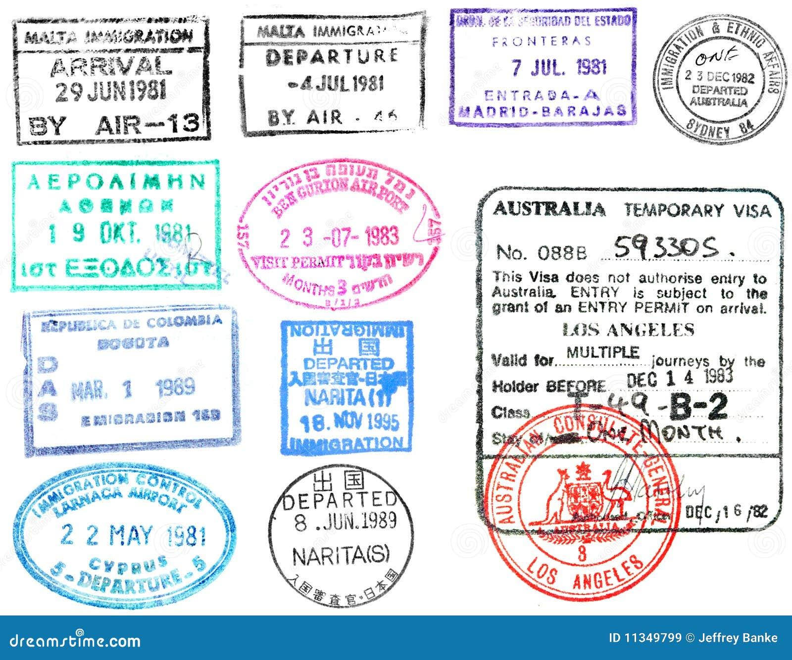 De zegels en het visum van het paspoort