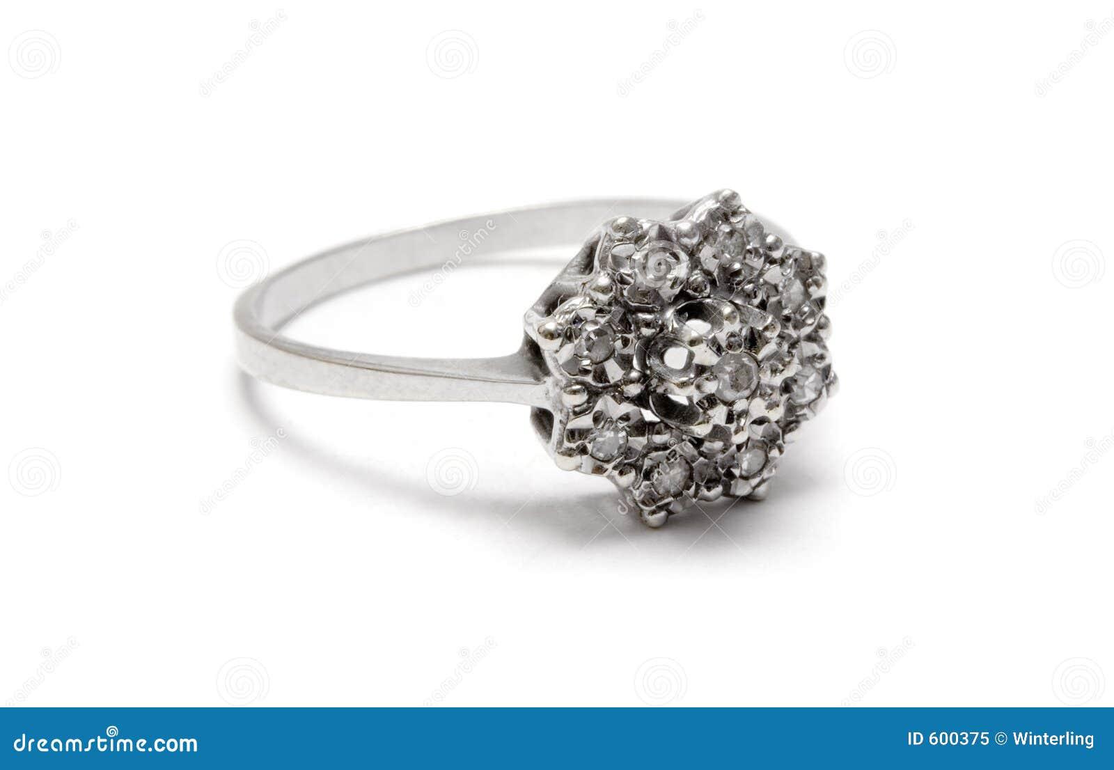 De Zilveren Ring van de Bloesem van de diamant