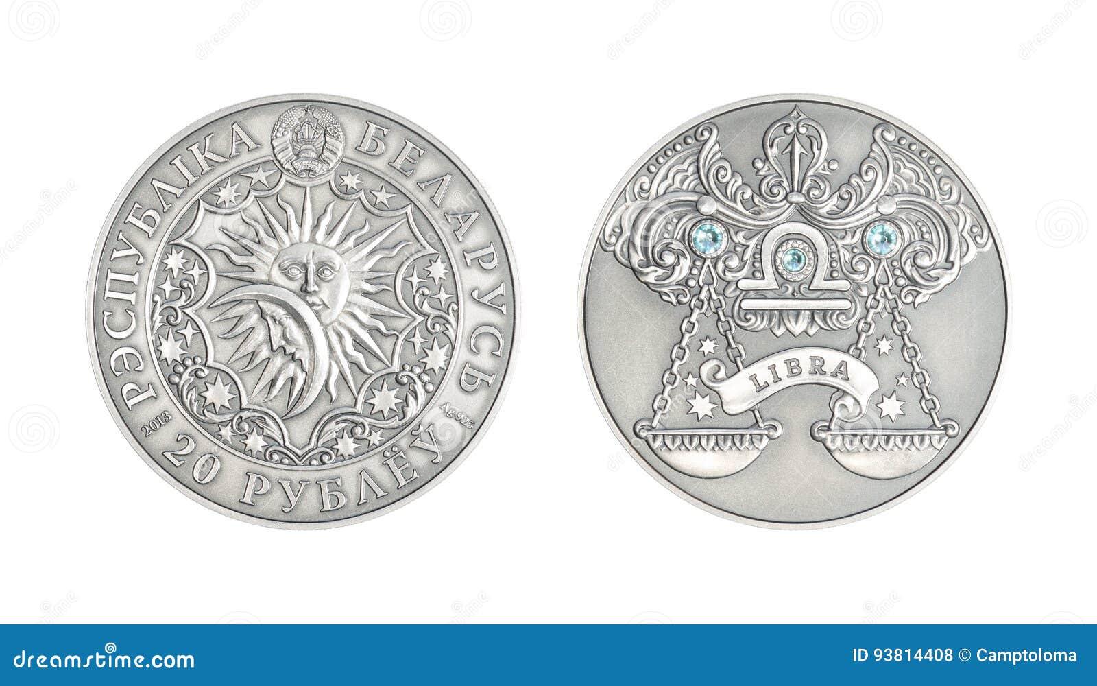 De zilveren Weegschaal van het muntstuk Astrologische teken