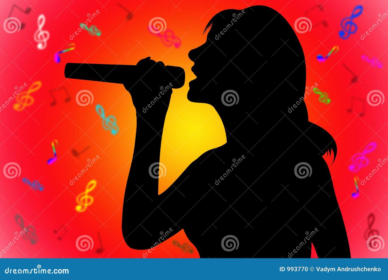 De zingende vrouw van het silhouet