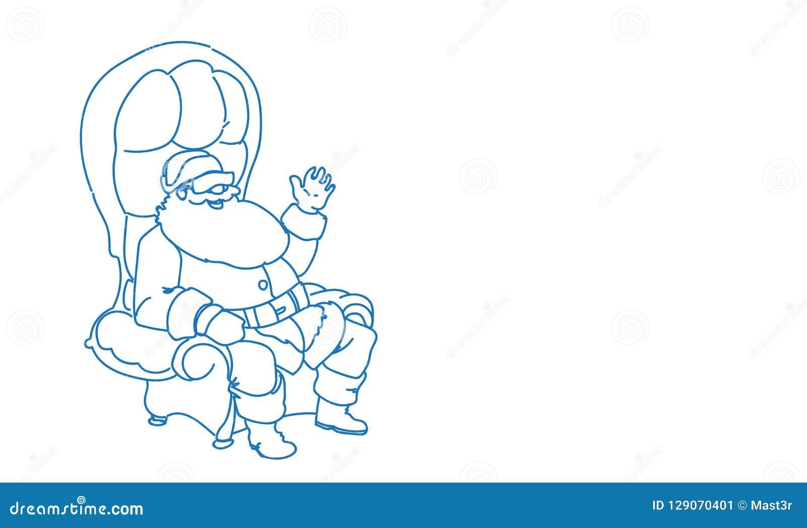 De zittingsleunstoel die van de Kerstman VR-van het de vakantie gelukkig nieuw jaar van de glazenwinter vrolijk horizontaal Kerst