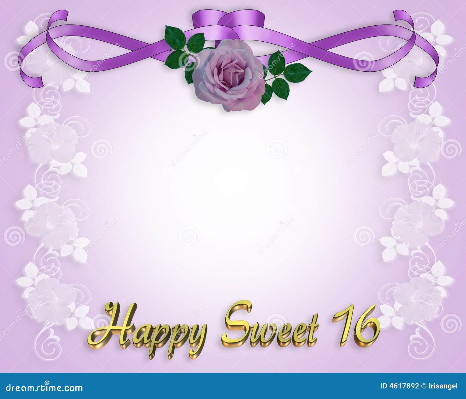 De Zoete Kaart Van De Uitnodiging Van 16 Verjaardag Stock