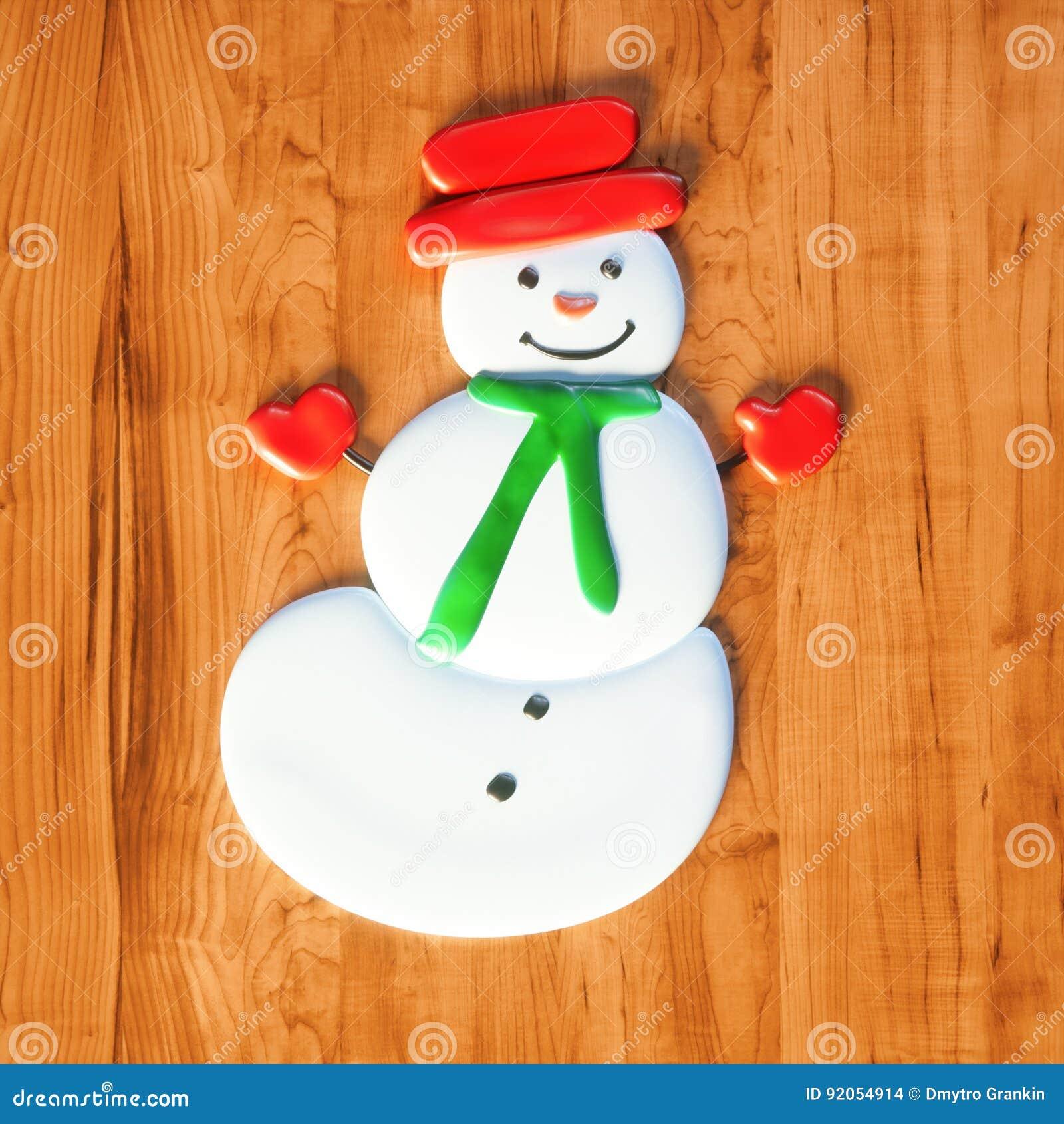 De zoete Kerstmisgift van het sneeuwmansuikergoed op houten 3d lijst geeft terug