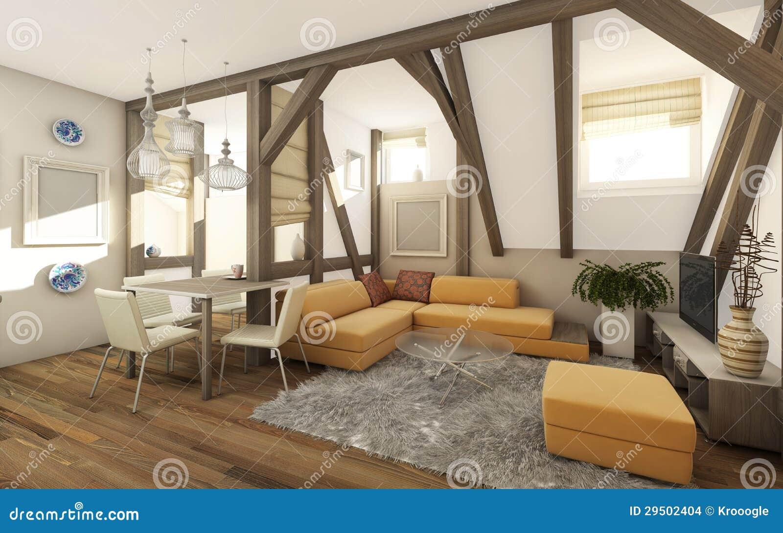 De zolder van de woonkamer stock afbeeldingen afbeelding 29502404 - Uitbreiding van de zolder ...