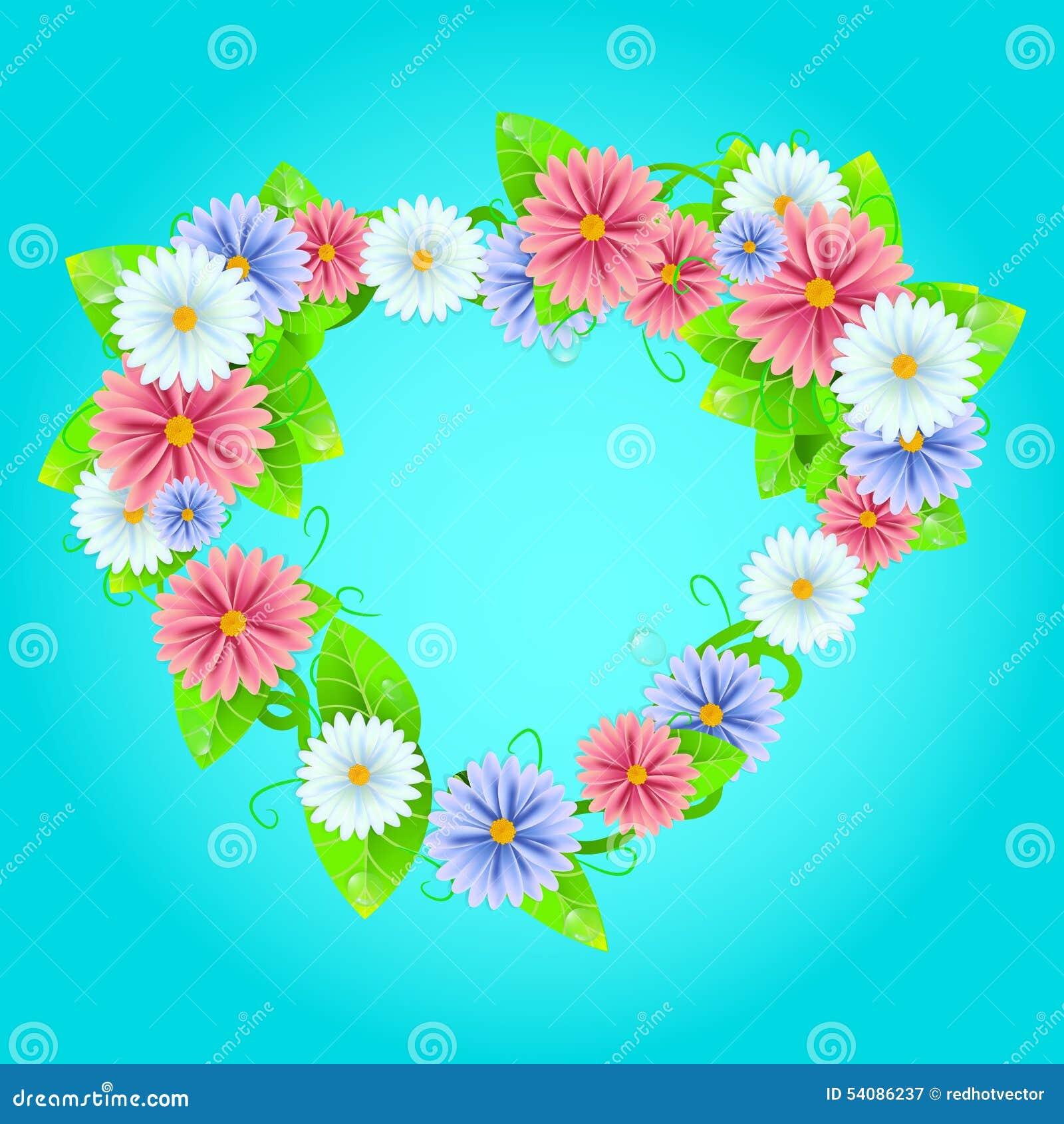 De zomer of de lentekader met bloemen