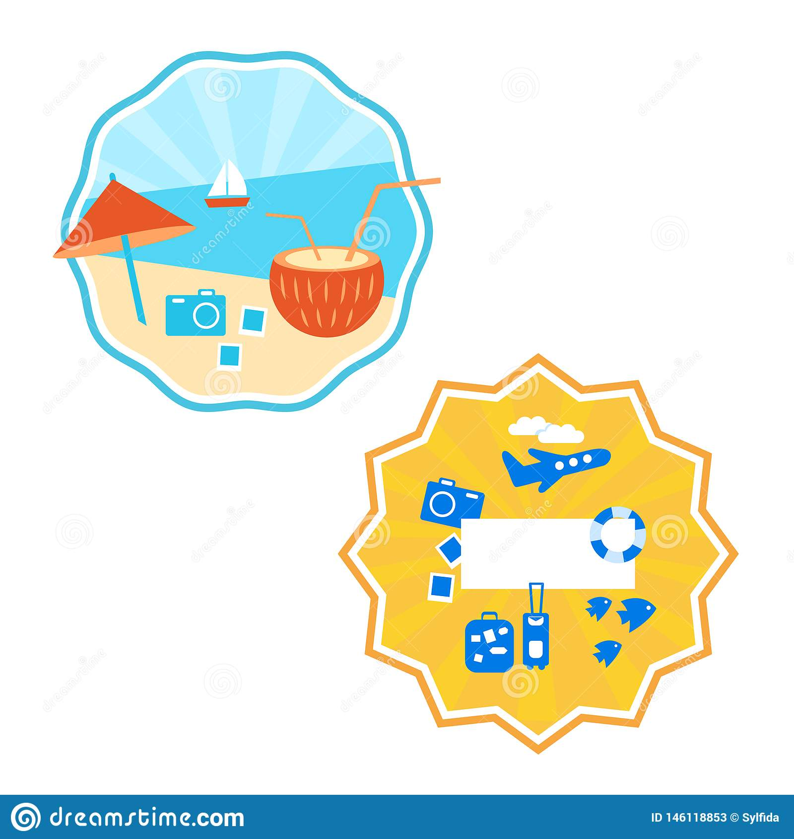 De zomer, etiket, embleemontwerp, gekleurde achtergrond, vector
