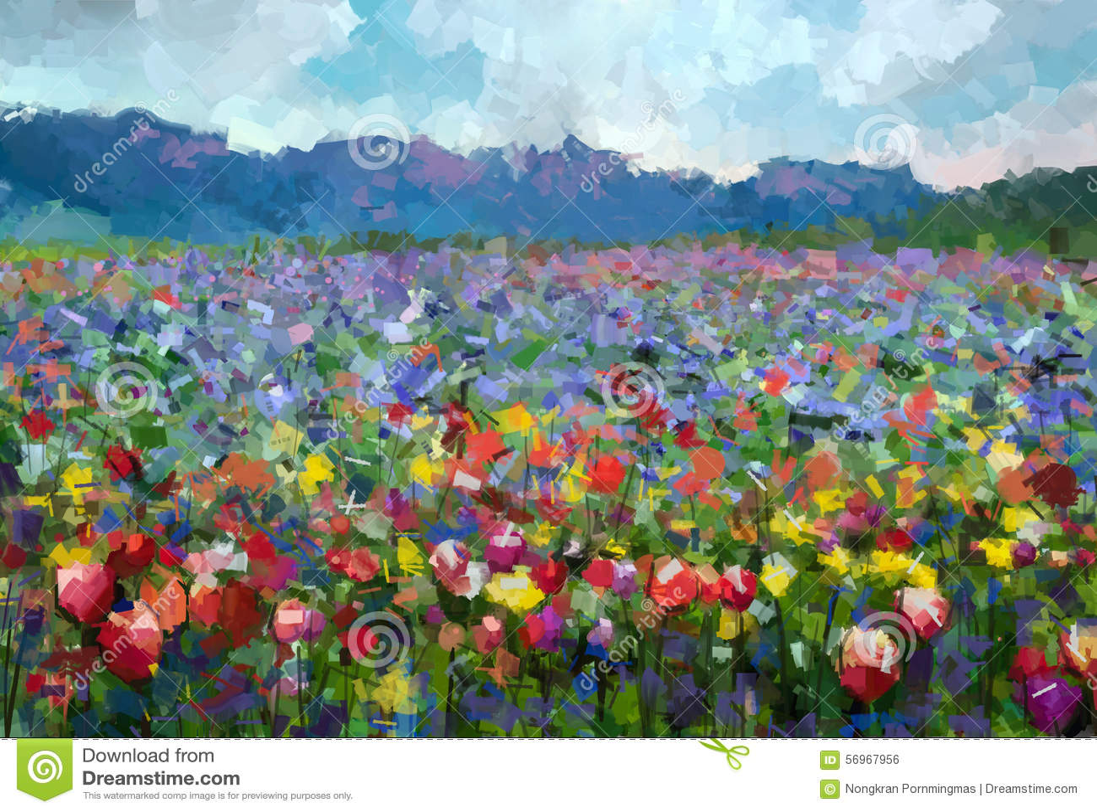De zomer landelijk landschap van de olieverfschilderij Kleurrijk lente