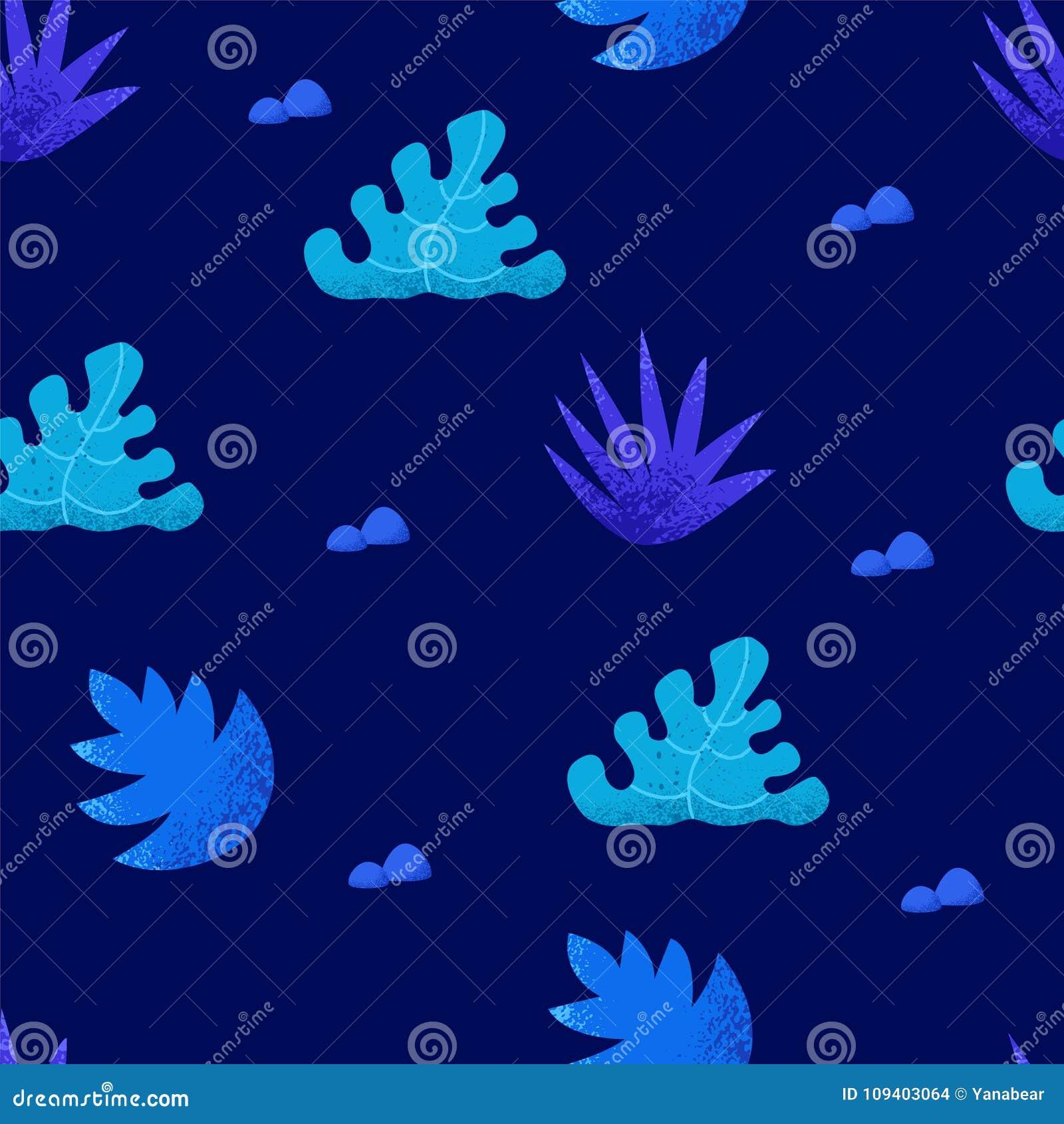 De zomer naadloos patroon met tropische installaties op blauwe achtergrond Ornament voor textiel en het verpakken Vector