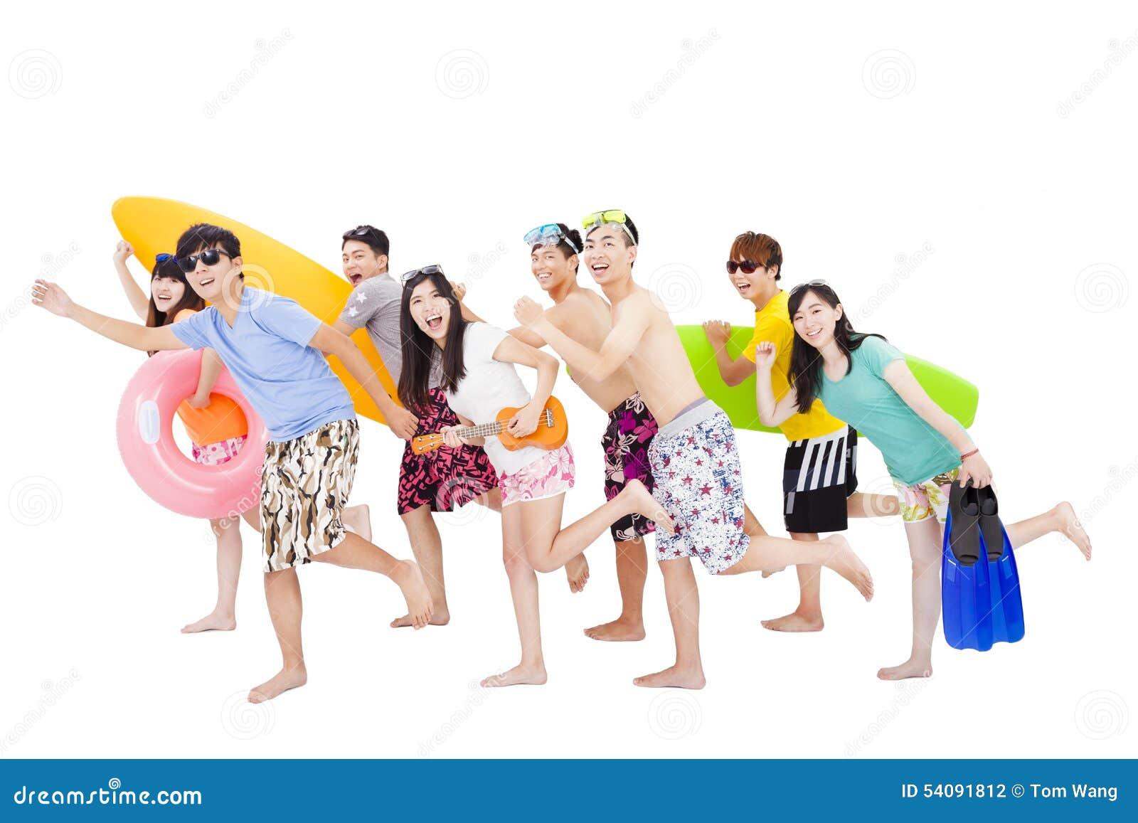 De zomer, strand, vakantie, gelukkige jonge groep