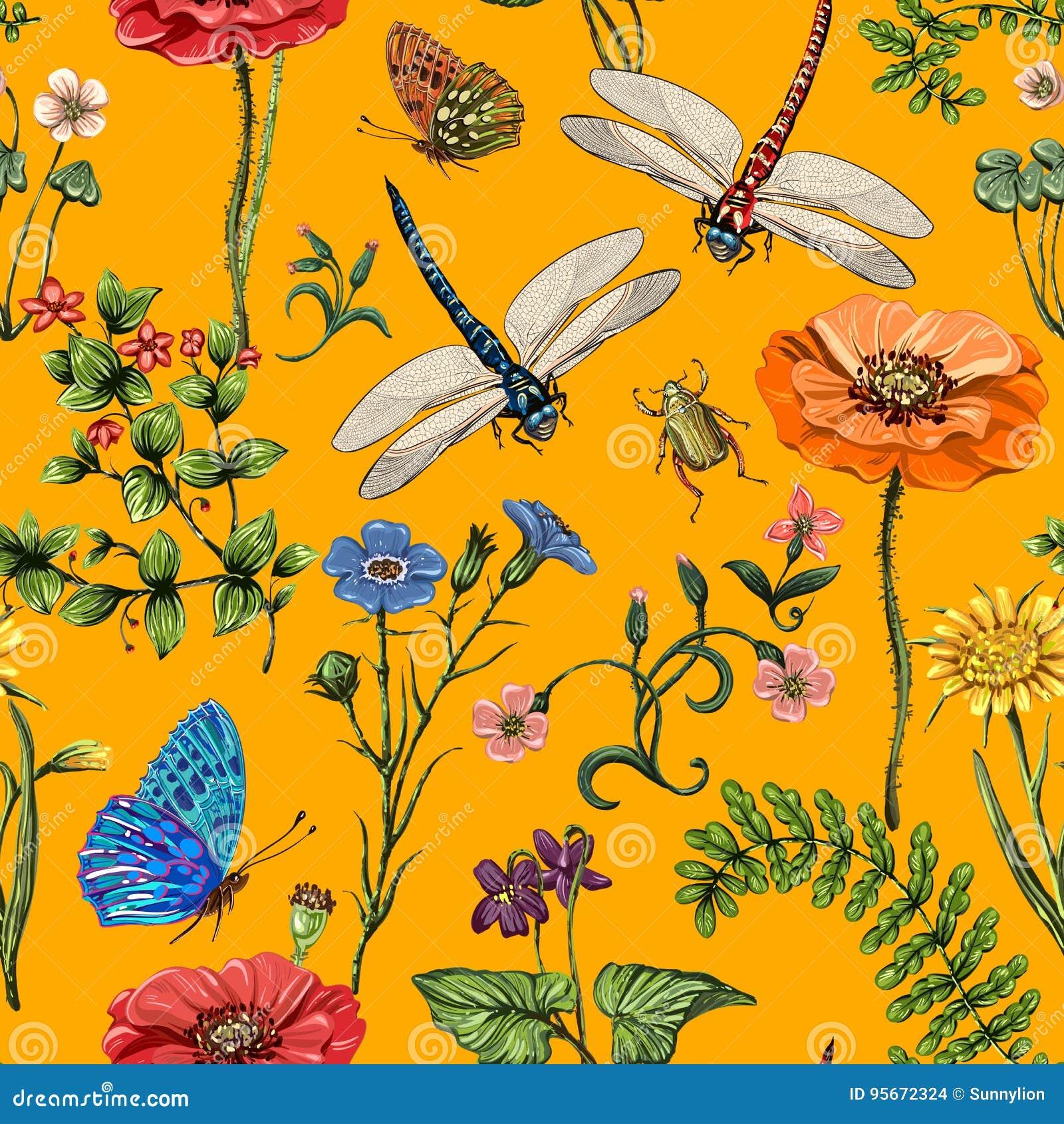 de zomer vector naadloos patroon botanisch behang installaties insecten bloemen uitstekende stijl vlinders libellen 95672324 - Insecten Behang