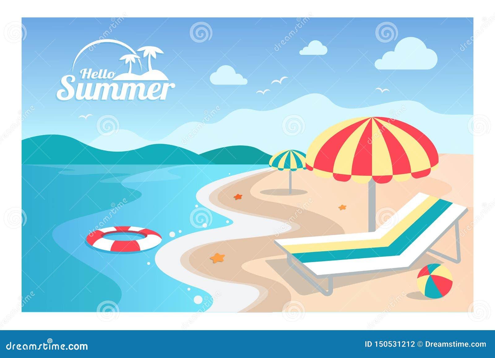 De zomer vectorillustratie als achtergrond
