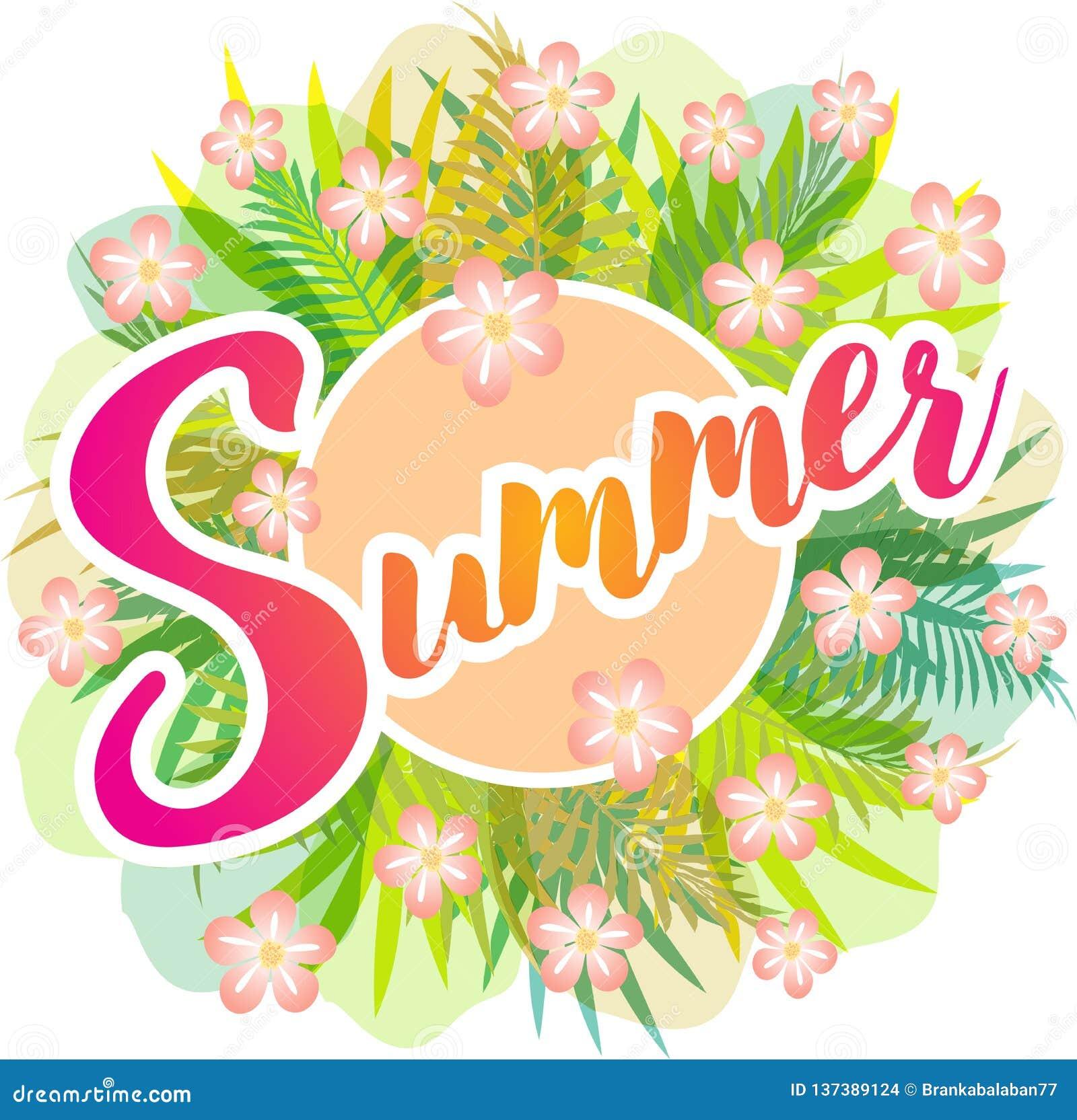 De zomer - vectortekening met groene bladeren, varens en roze bloemen
