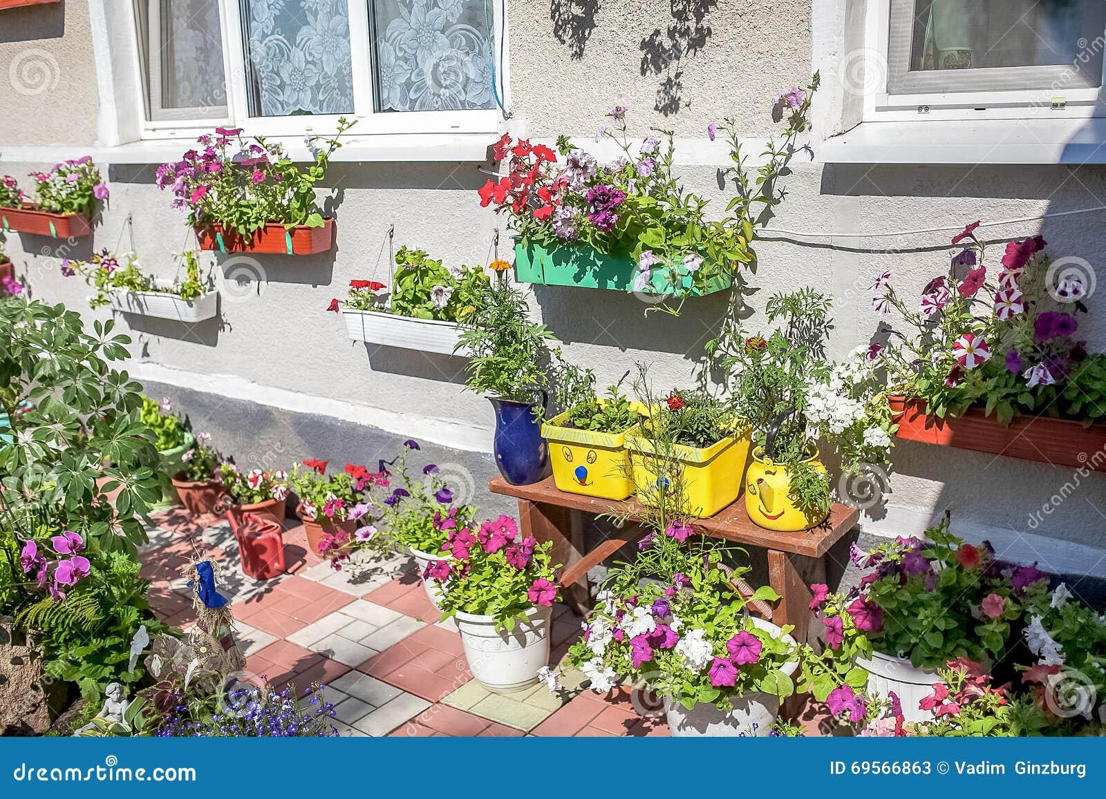 De zomerbloemen in een pot op de vensterbank buiten stock foto afbeelding 69566863 - Tuin decoratie buitenkant ...