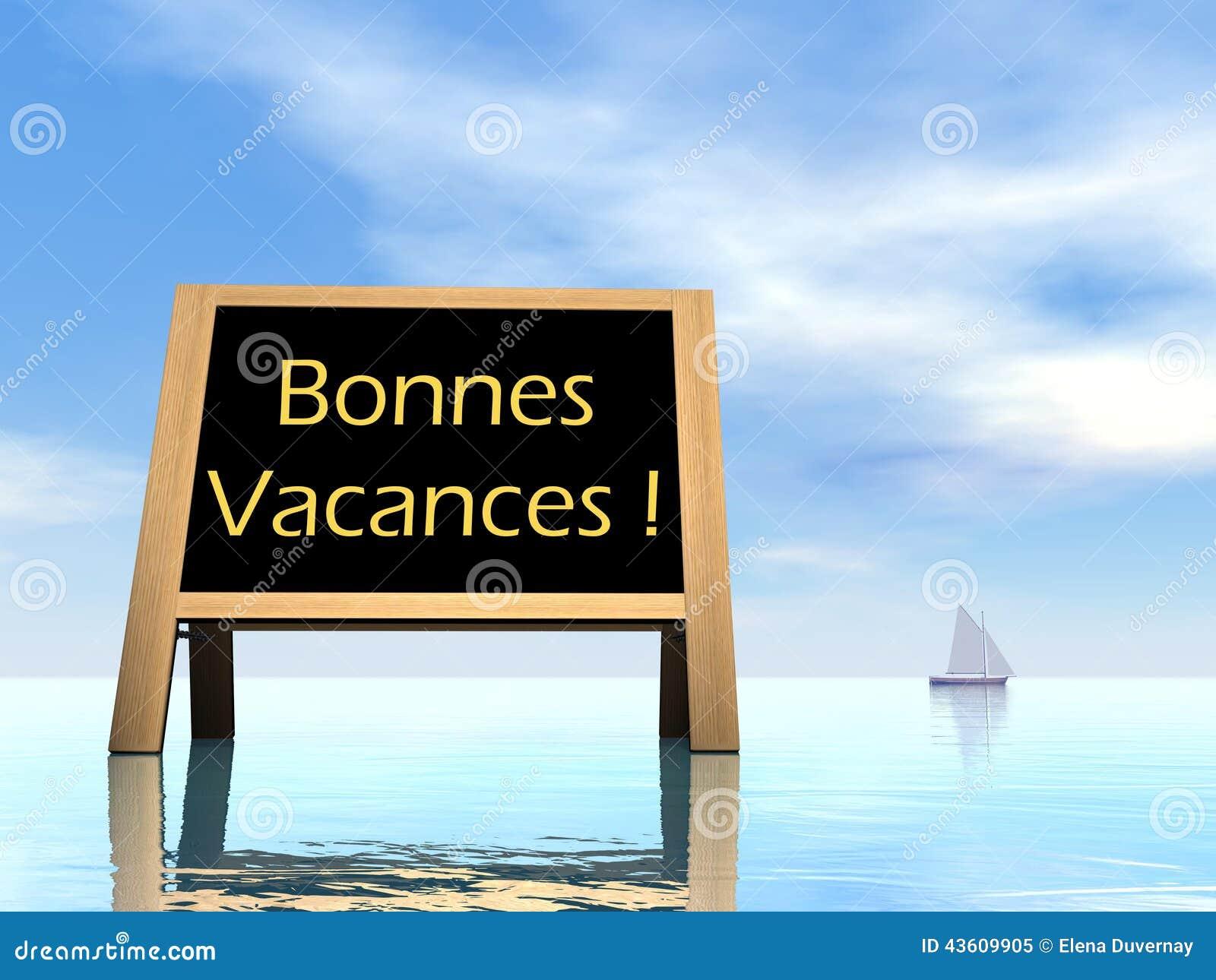 De zomerbord die gelukkige vakantie in het Frans wensen