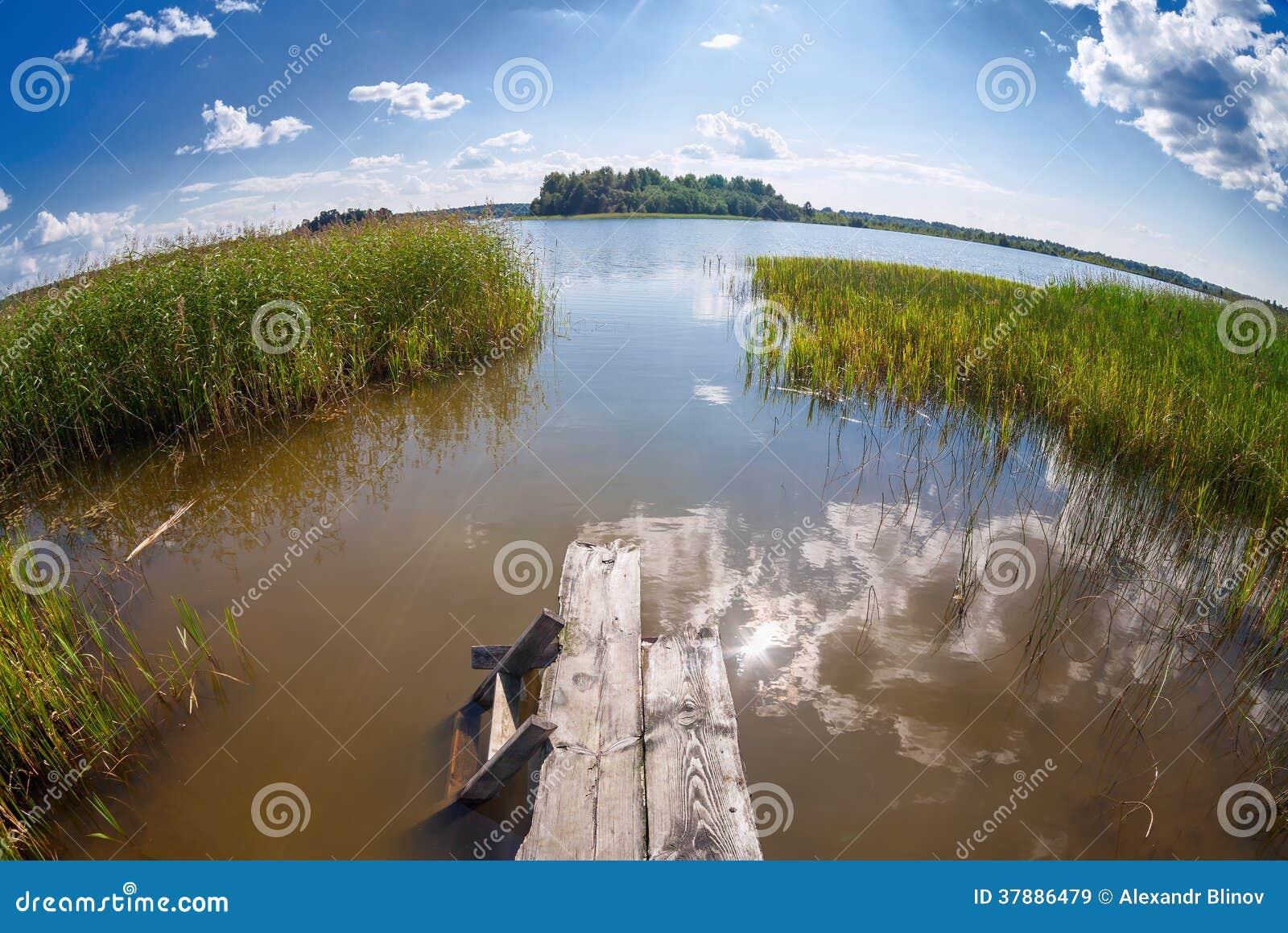De zomerlandschap met meer en houten brug