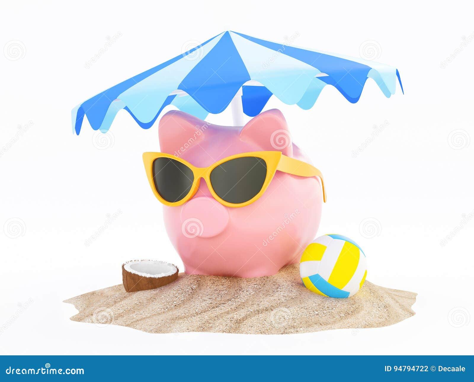 De zomerspaarvarken met zonnebril op strand