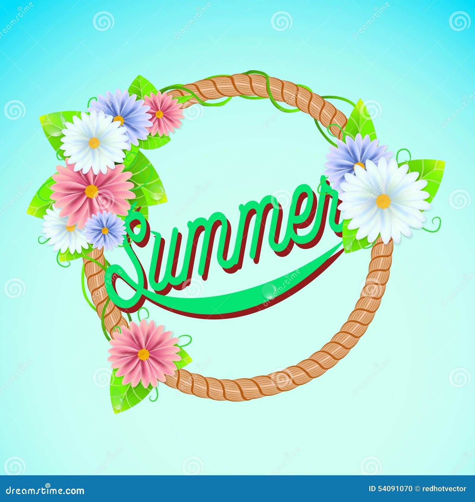 De zomerteken met kader van bloemen