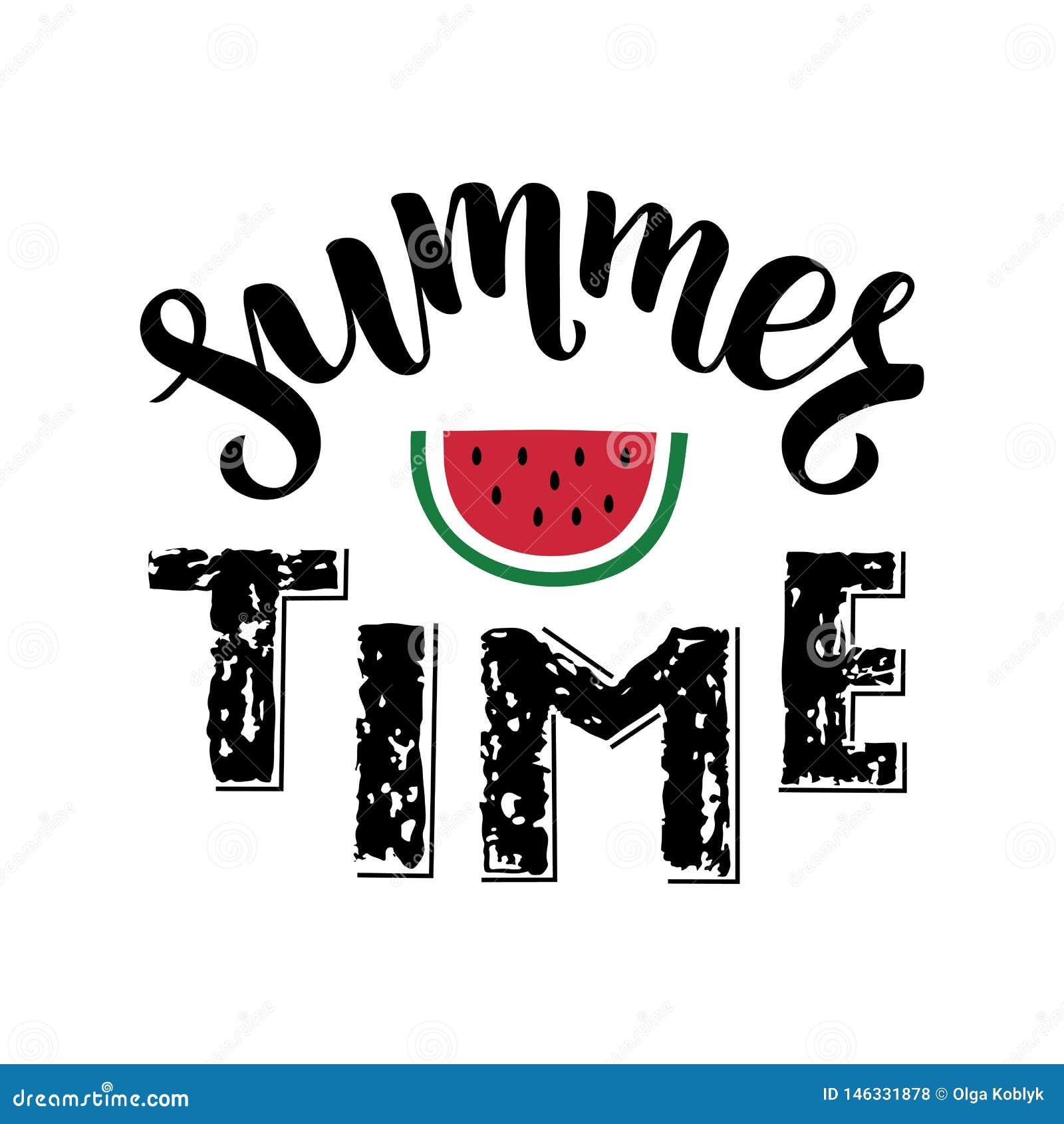 De zomertijd - borstel het met de hand geschreven van letters voorzien met stuk van rode watermeloen