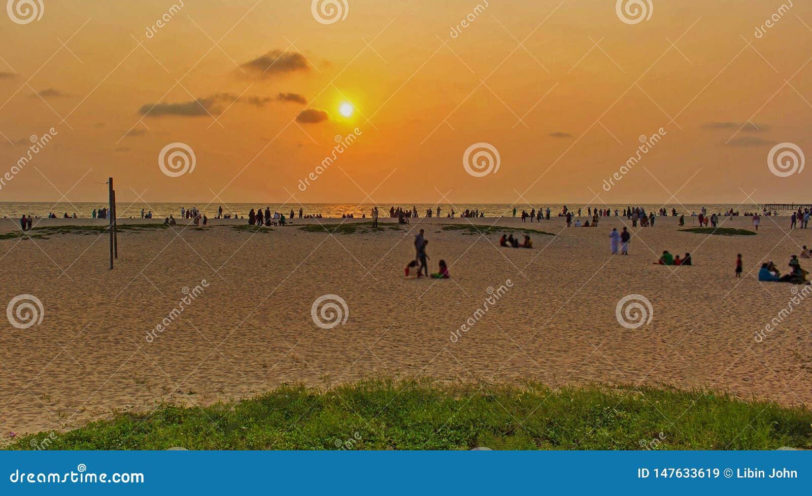 De zonsondergang shoted van Alappuzha-Strand