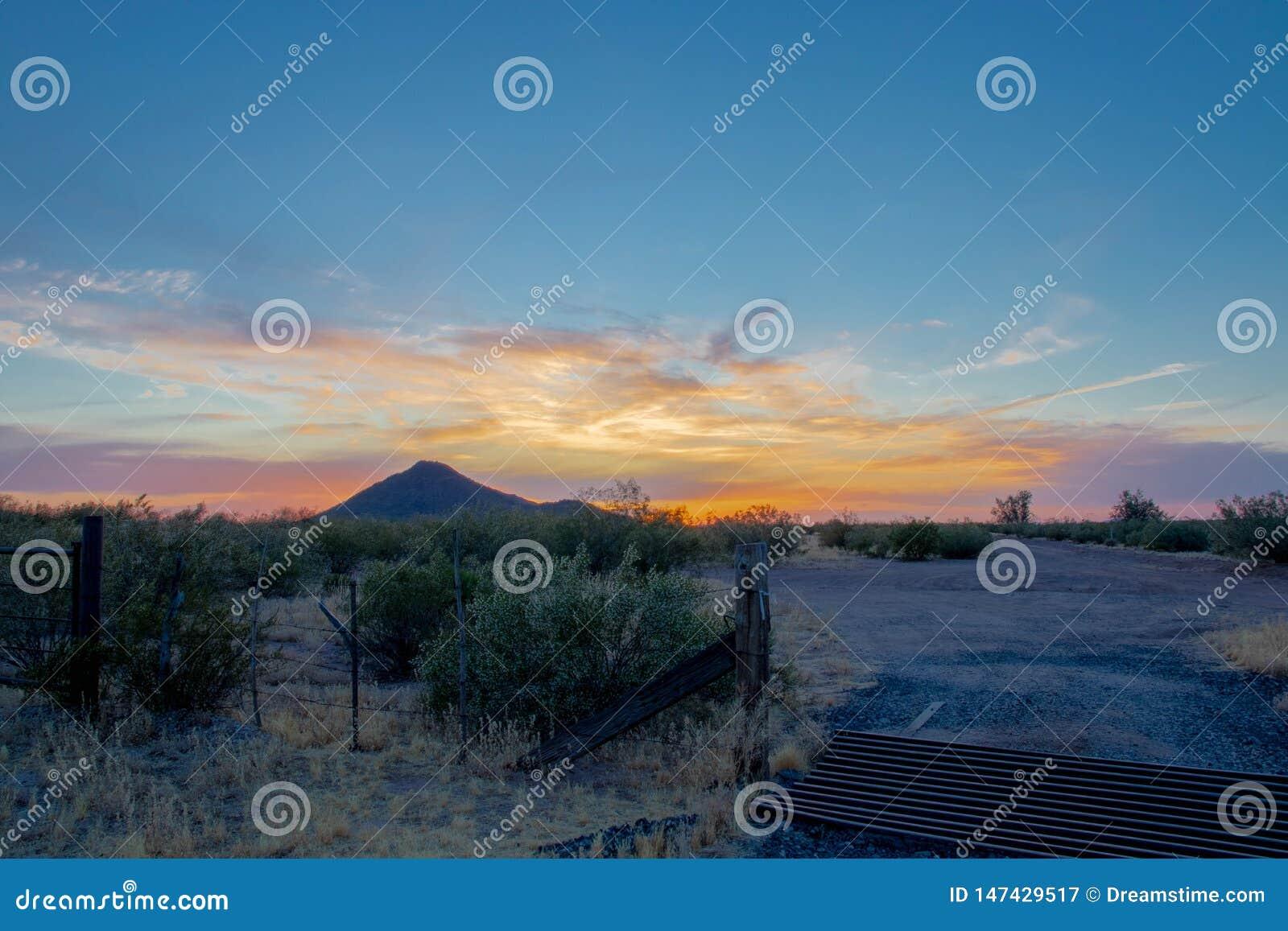 De zonsondergang van Arizona in de woestijn