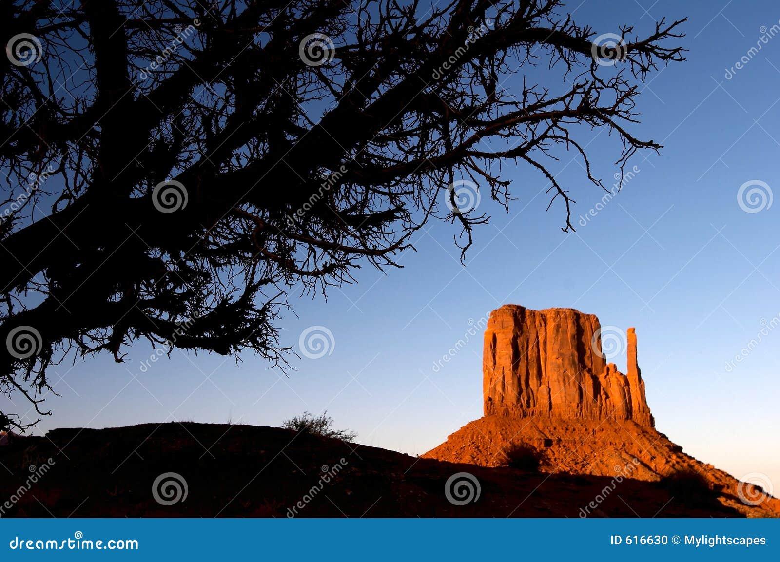 De zonsondergang van de Vallei van het monument